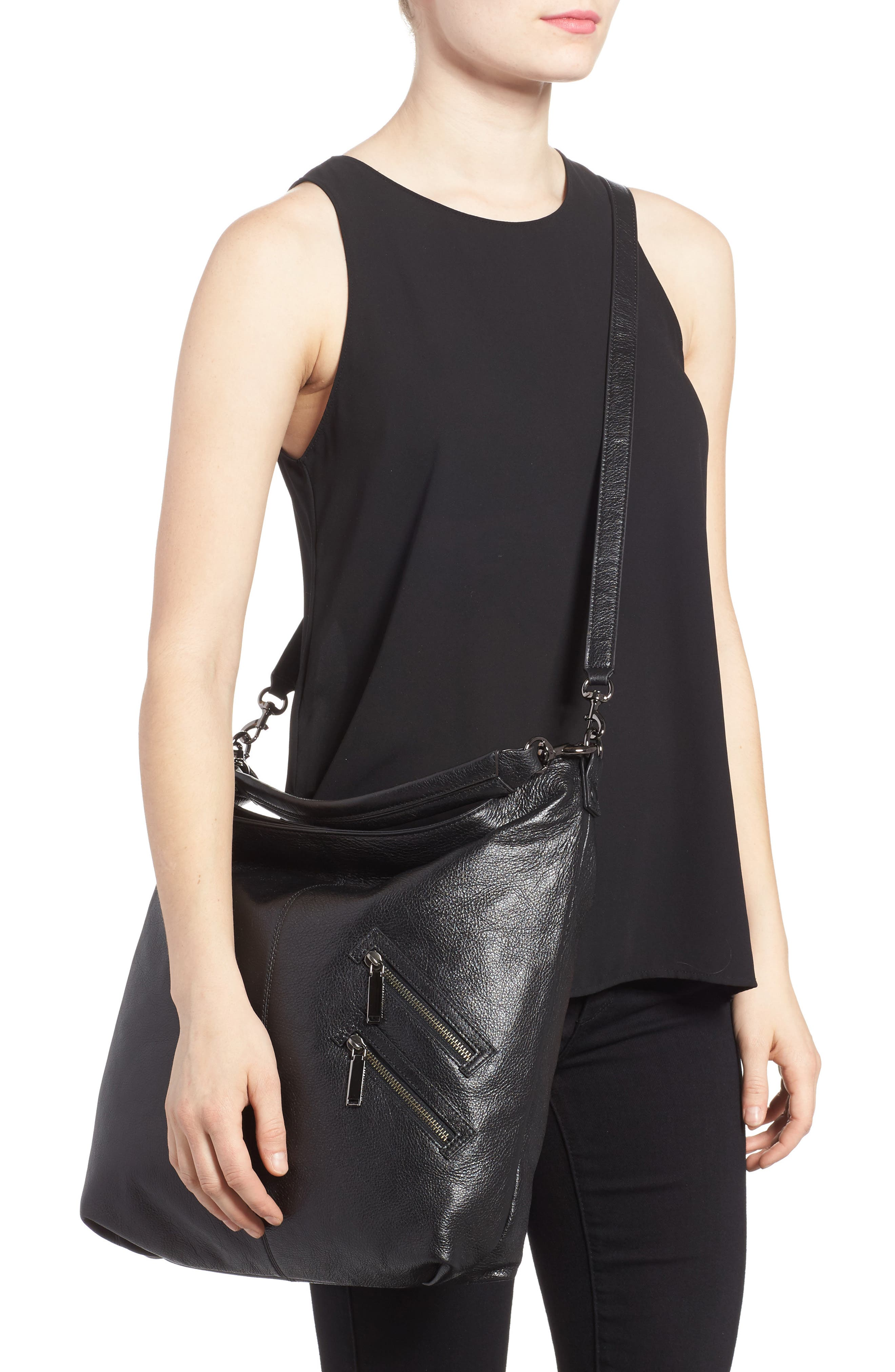 Large Jamie Convertible Leather Hobo,                             Alternate thumbnail 2, color,                             001