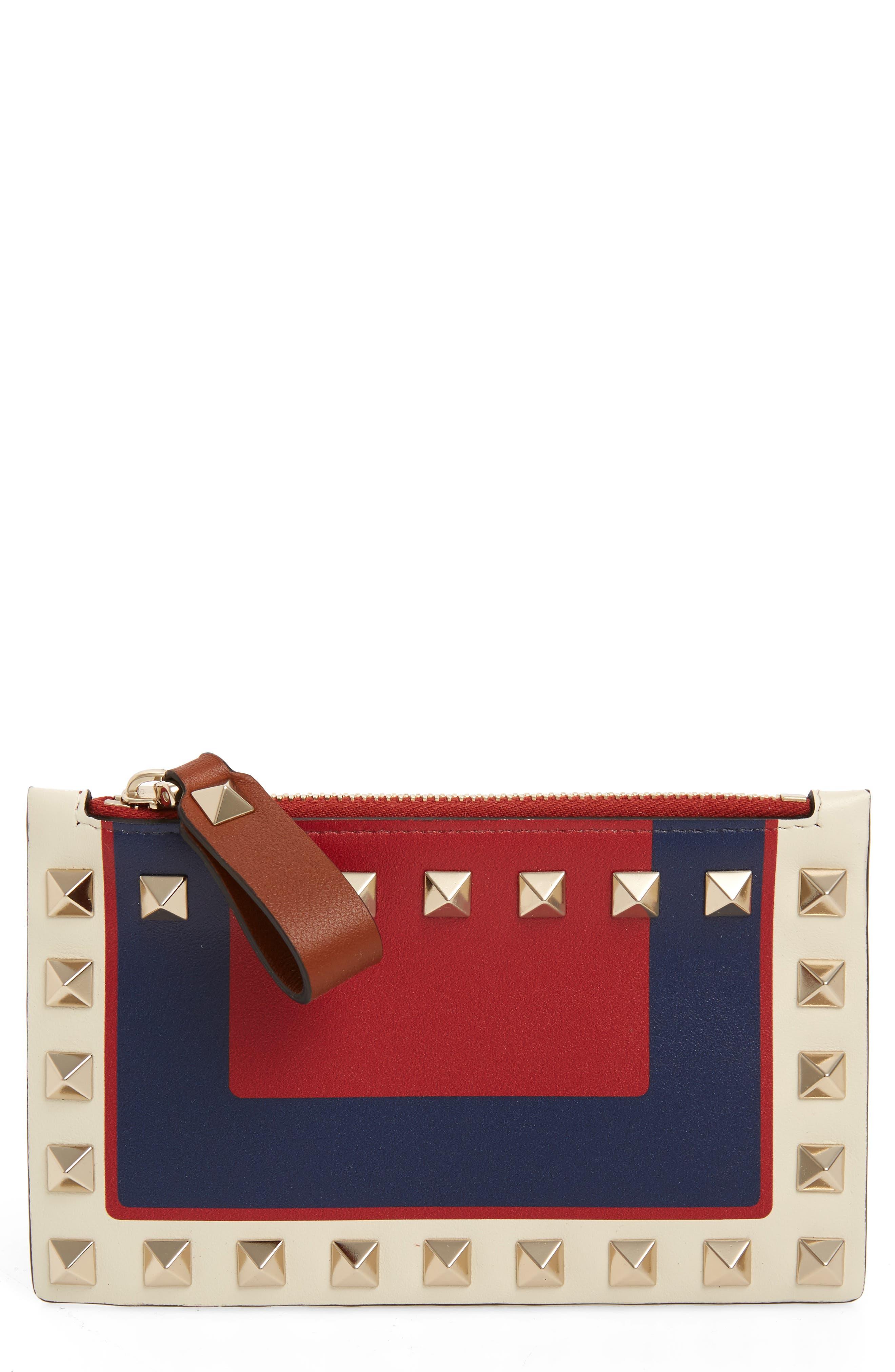 VALENTINO GARAVANI Rockstud Leather Zip Card Case, Main, color, ROSSO