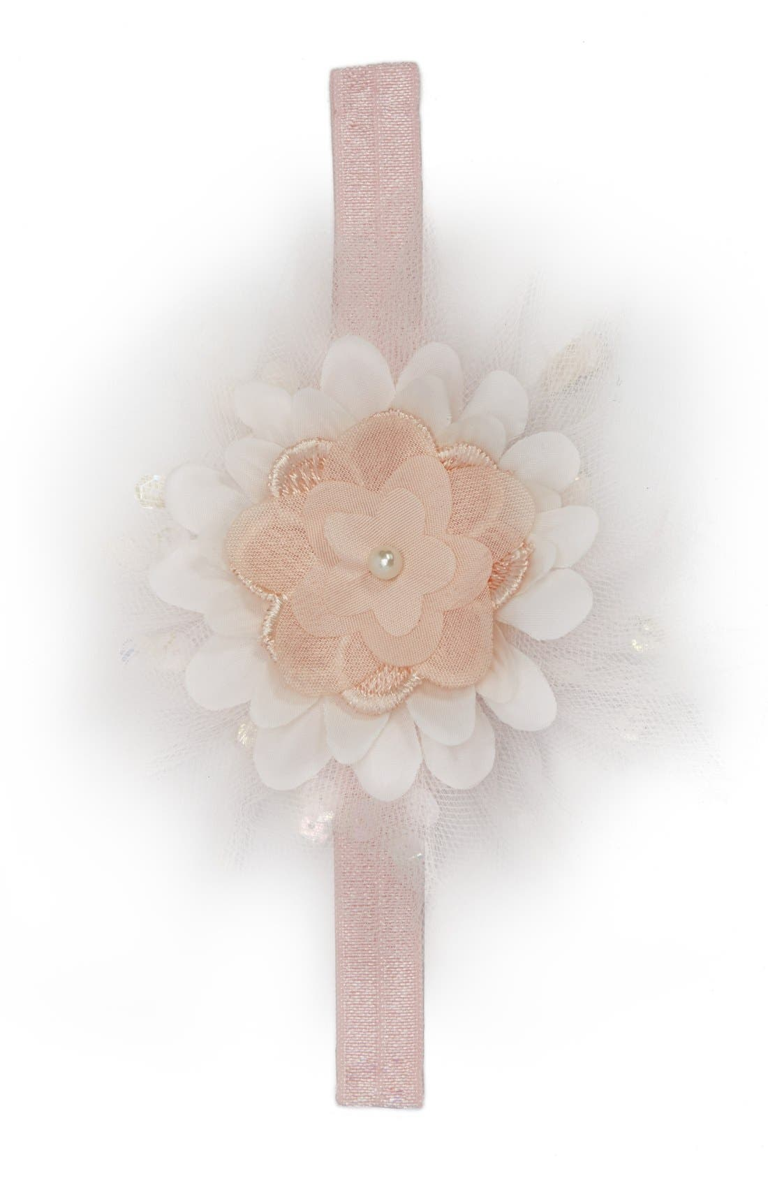 Tulle & Satin Flower Head Wrap,                             Main thumbnail 1, color,