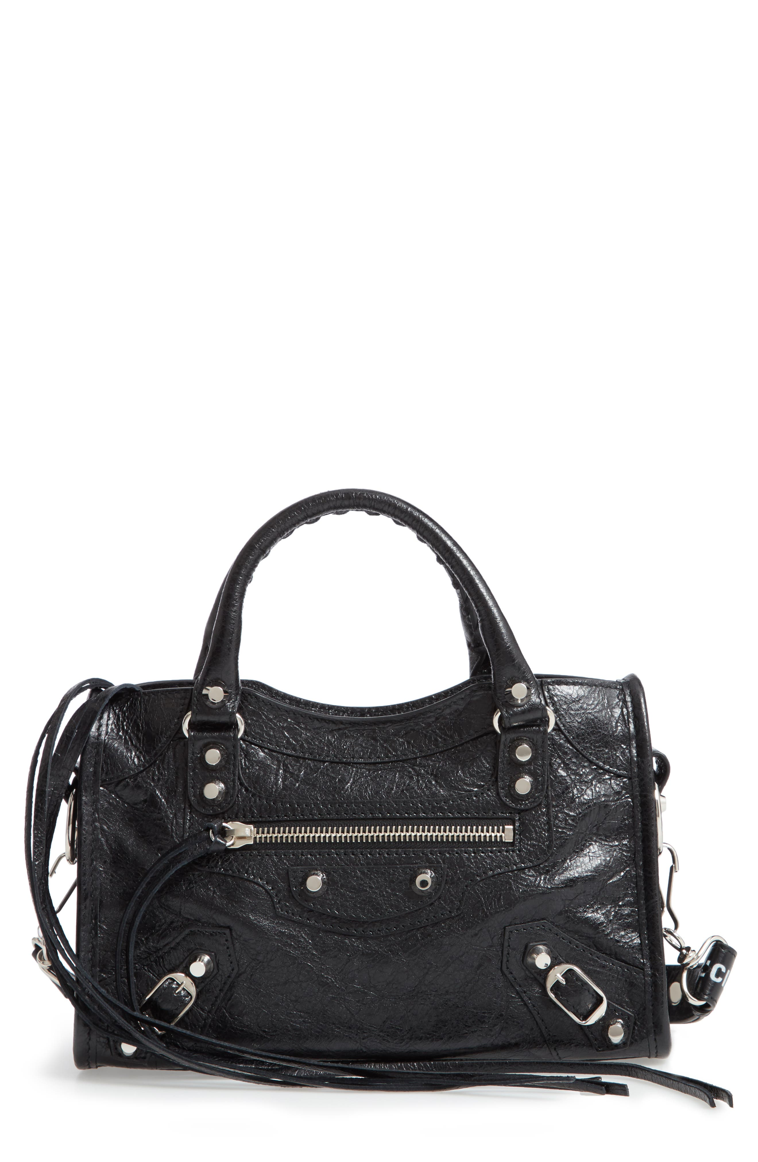 Mini Arena City Leather Satchel,                         Main,                         color, BLACK/ WHITE
