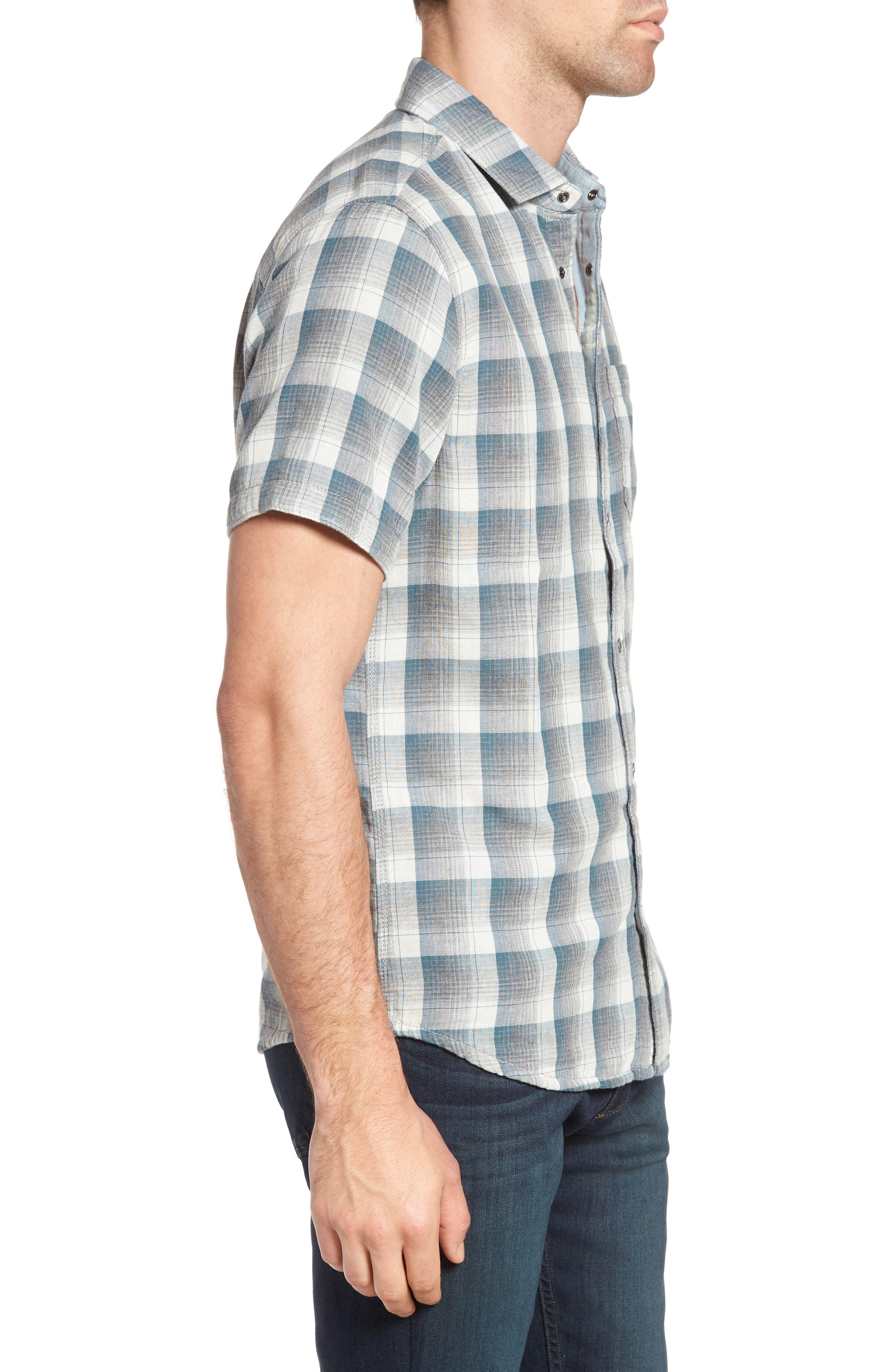 Clark Regular Fit Reversible Plaid Sport Shirt,                             Alternate thumbnail 3, color,                             406