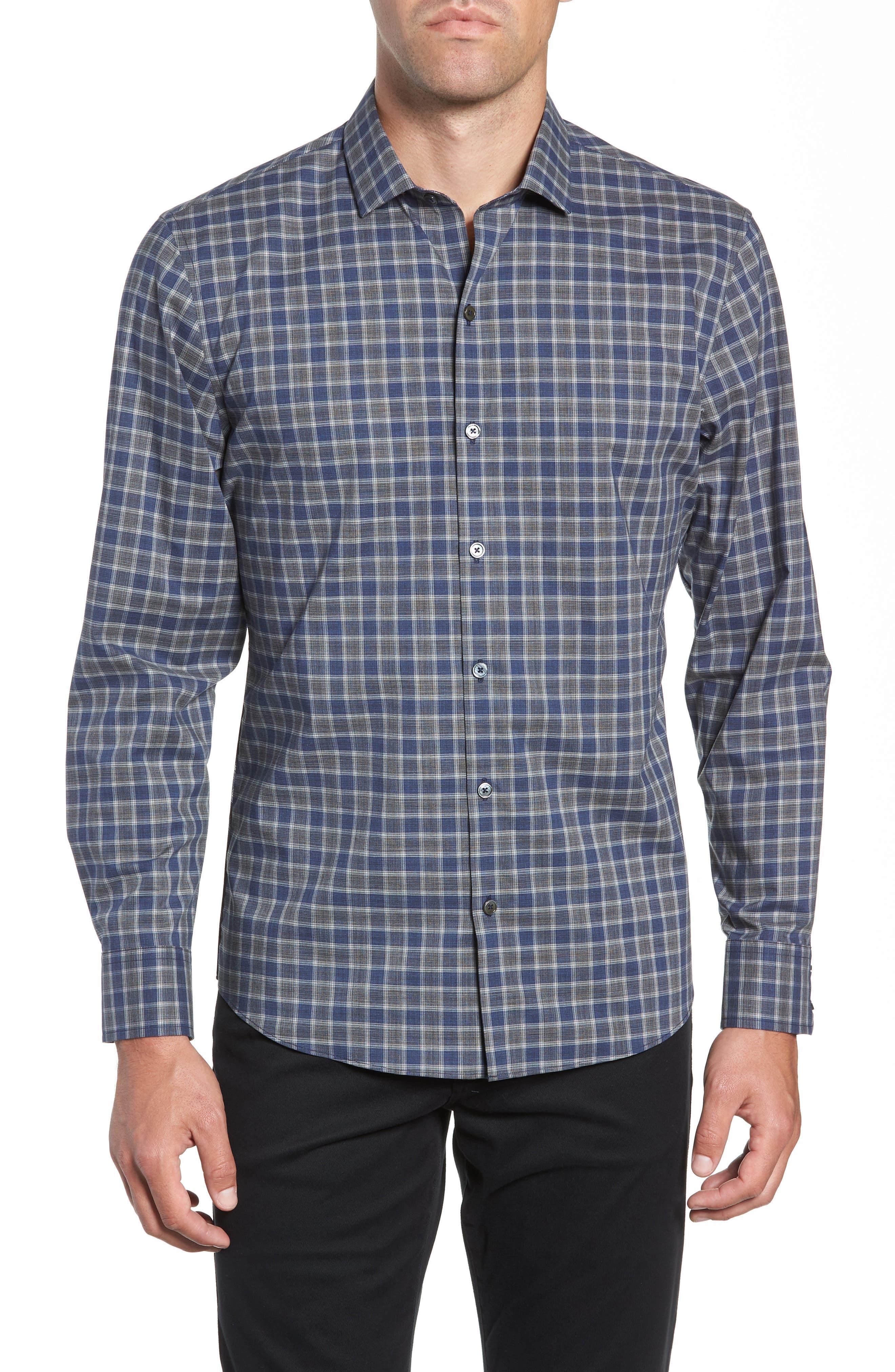 ZACHARY PRELL,                             Giunta Regular Fit Check Sport Shirt,                             Main thumbnail 1, color,                             BLUE
