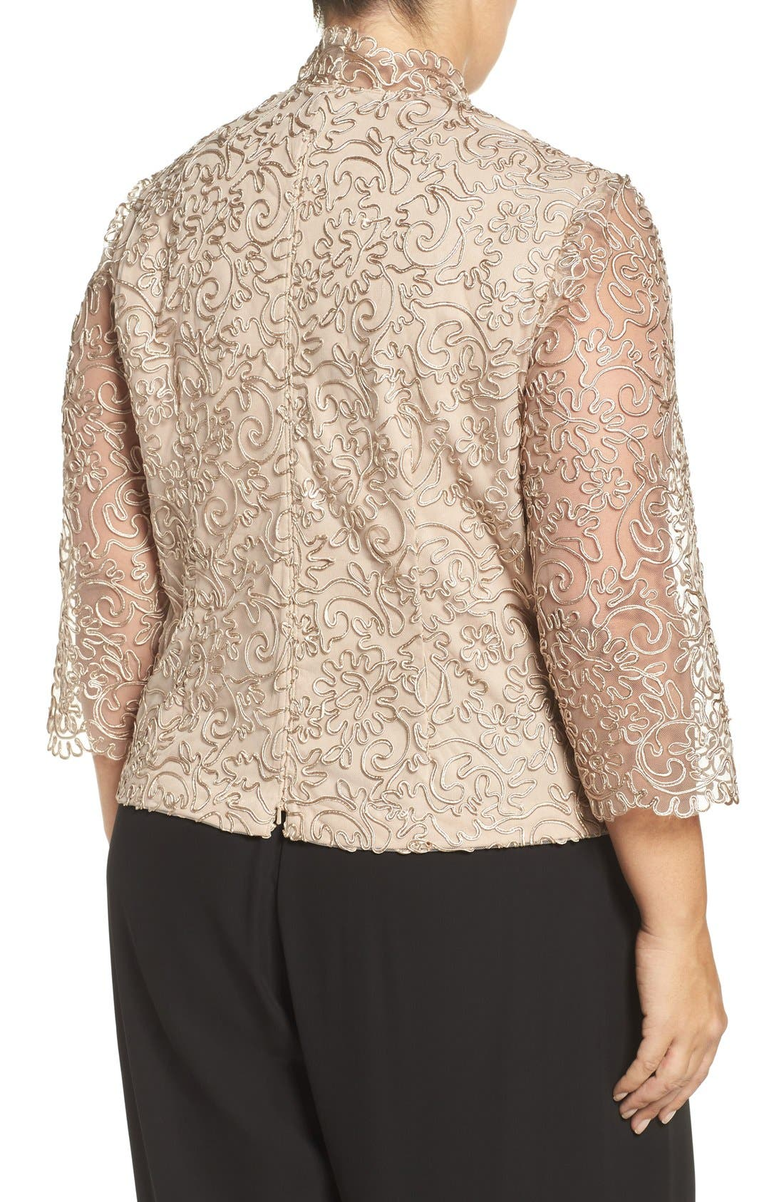 Embroidered Illusion Sleeve Blouse,                             Alternate thumbnail 6, color,