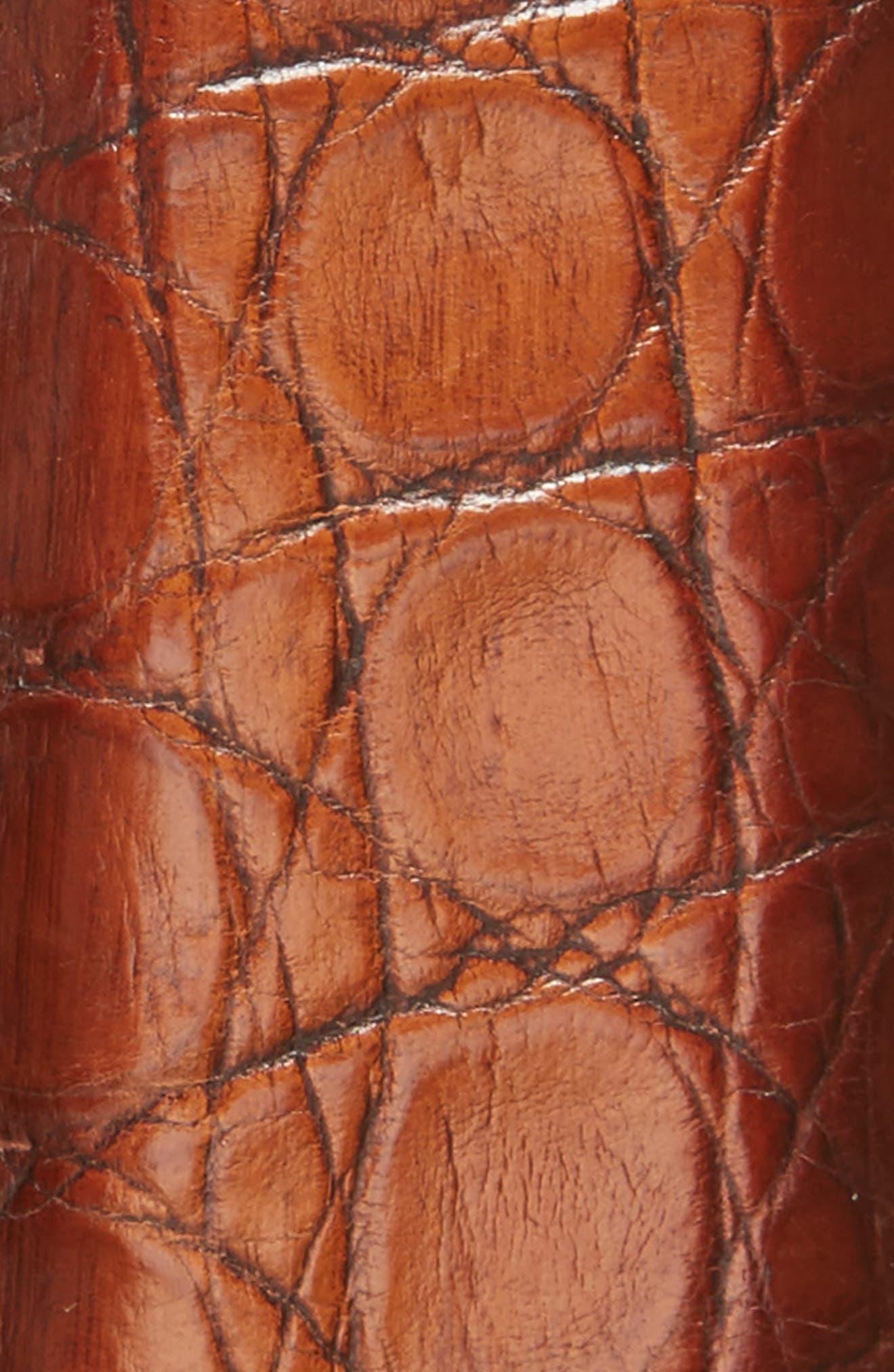 Crocodile Leather Belt,                             Alternate thumbnail 2, color,                             COGNAC