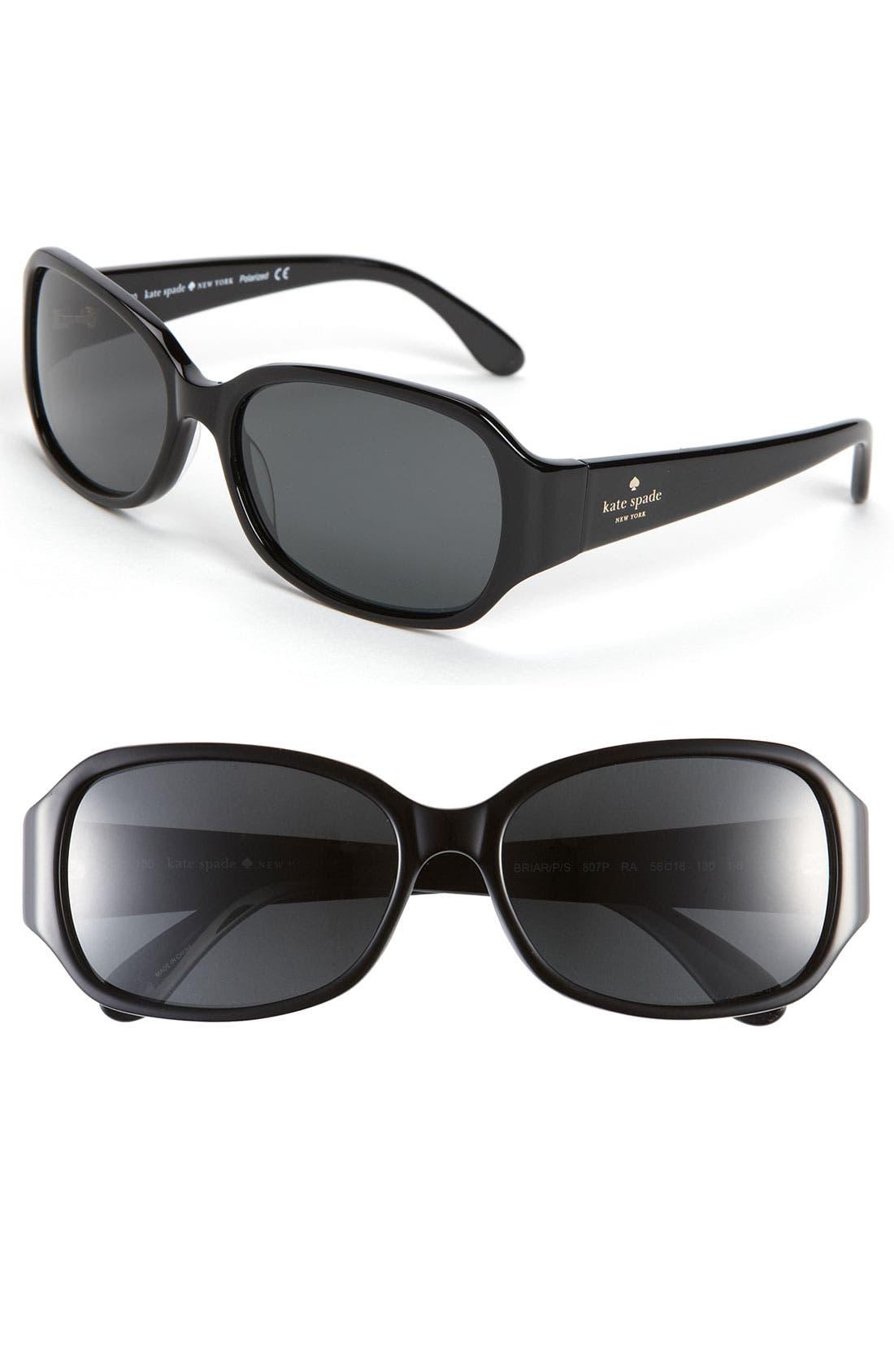 KATE SPADE NEW YORK,                             'briar' 56mm polarized sunglasses,                             Main thumbnail 1, color,                             001