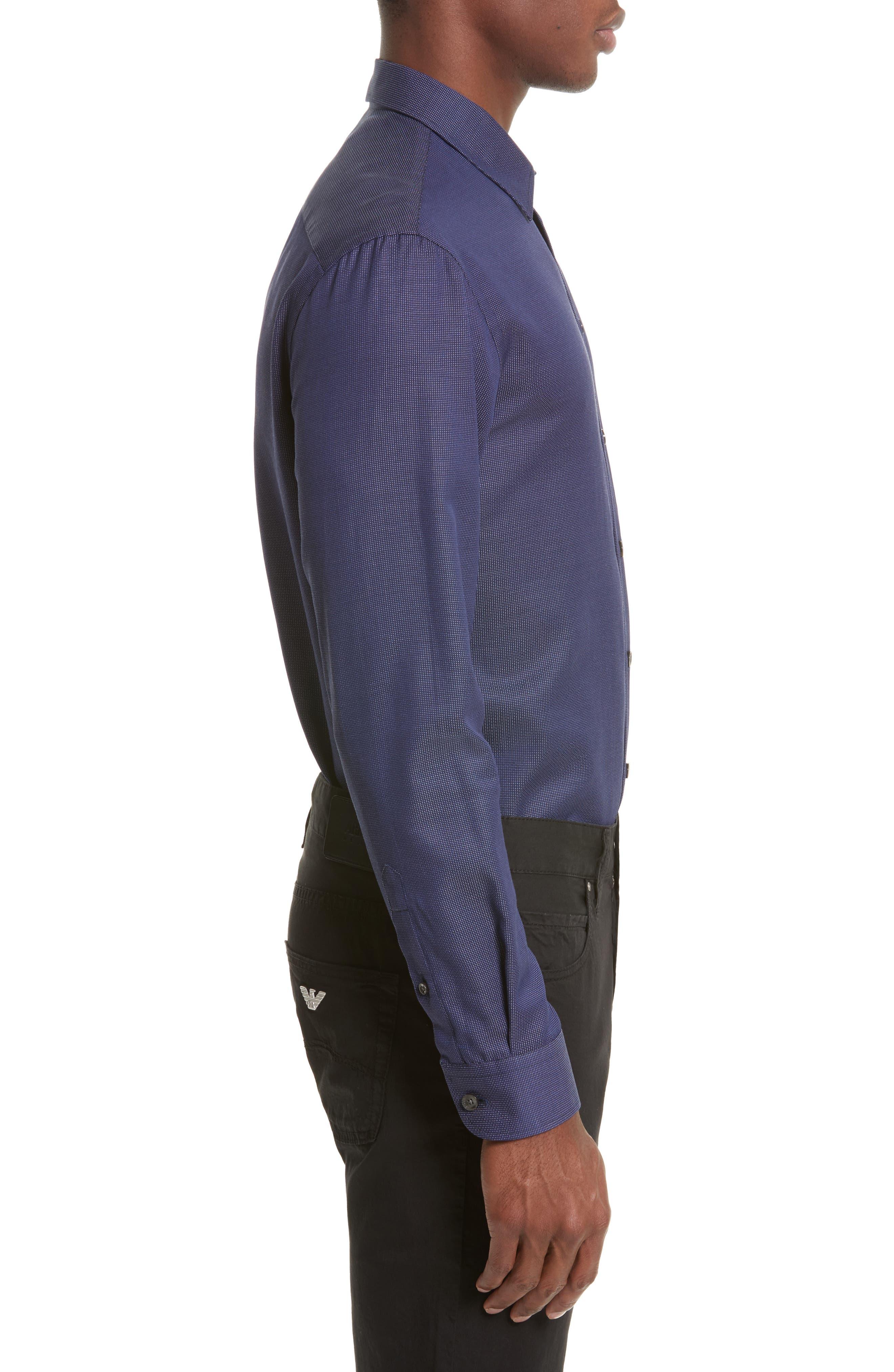 Regular Fit Pin Dot Print Sport Shirt,                             Alternate thumbnail 3, color,                             417