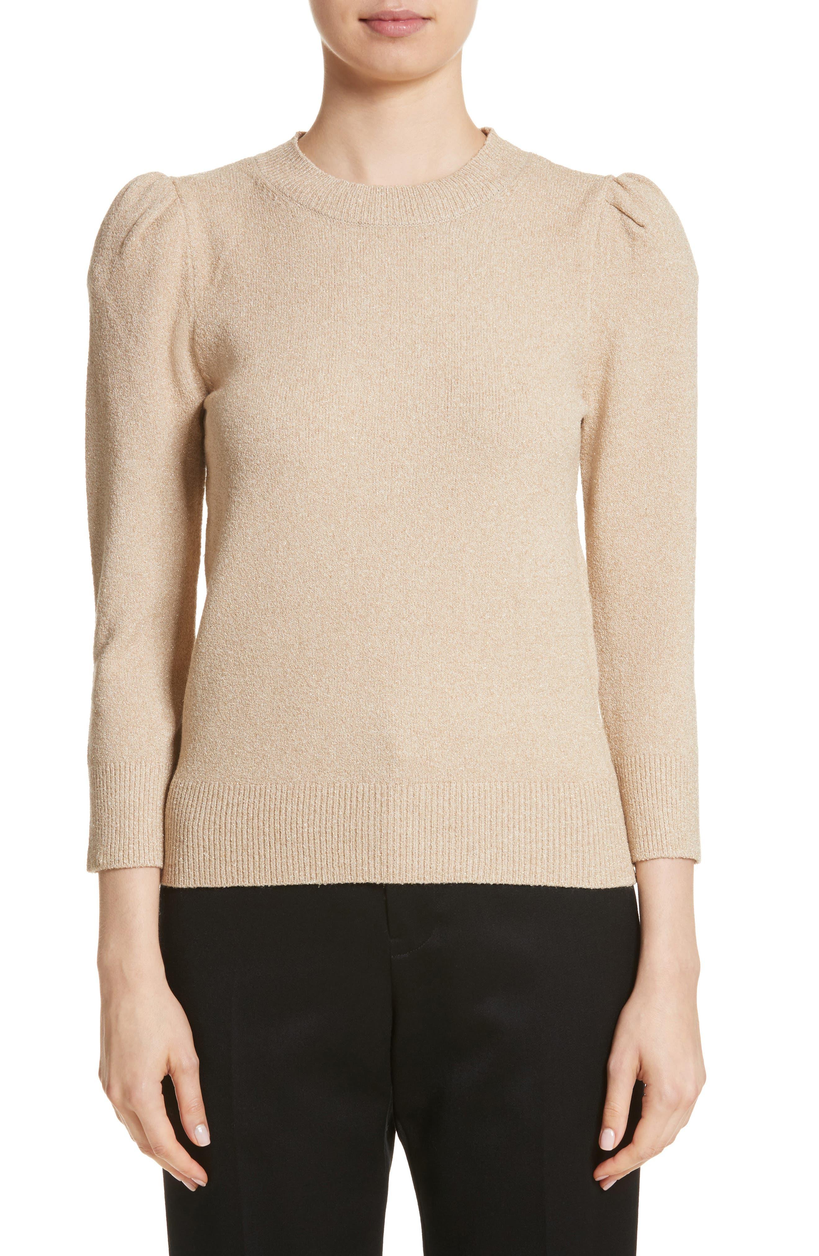 Metallic Knit Puff Sleeve Sweater,                             Main thumbnail 1, color,                             200