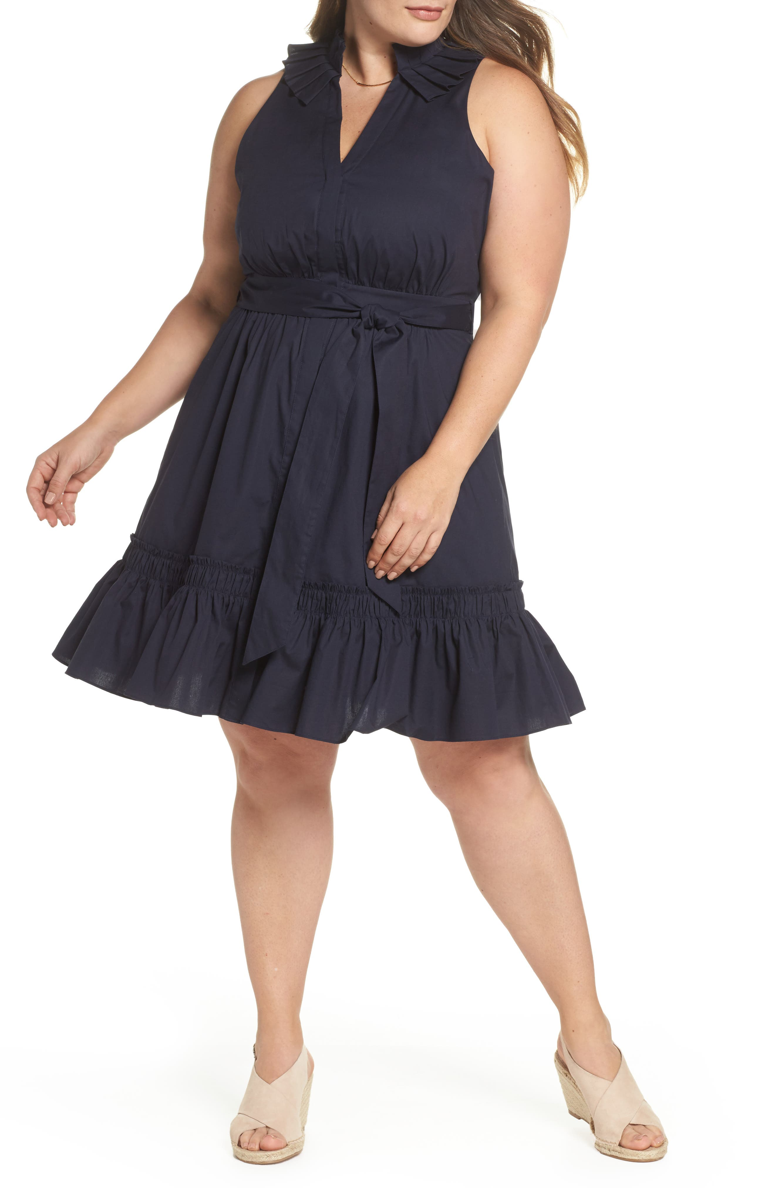 1901 Pleat Collar Fit & Flare Dress, Main, color, 401