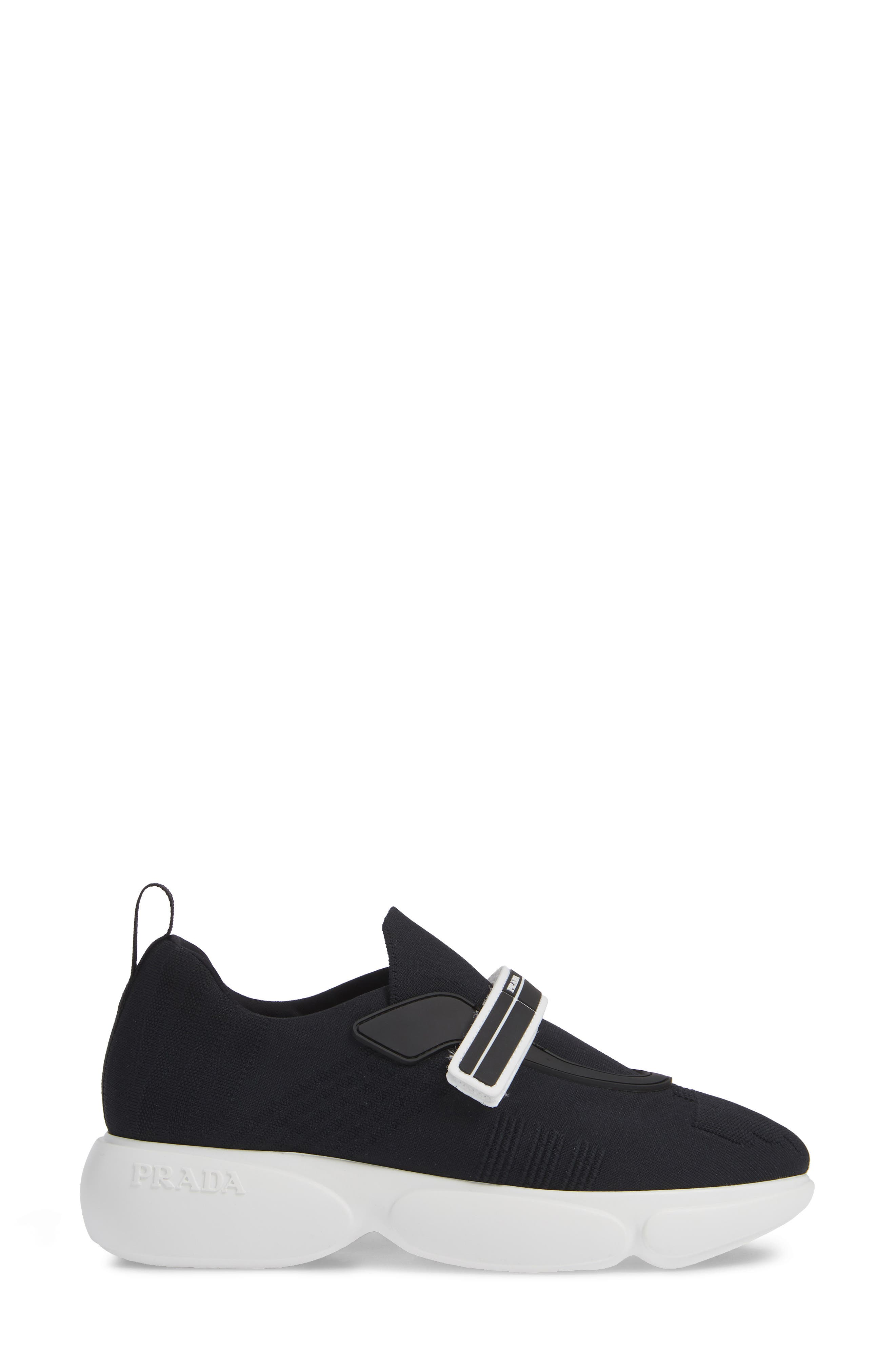 Logo Strap Knit Sneaker,                             Alternate thumbnail 3, color,                             BLACK