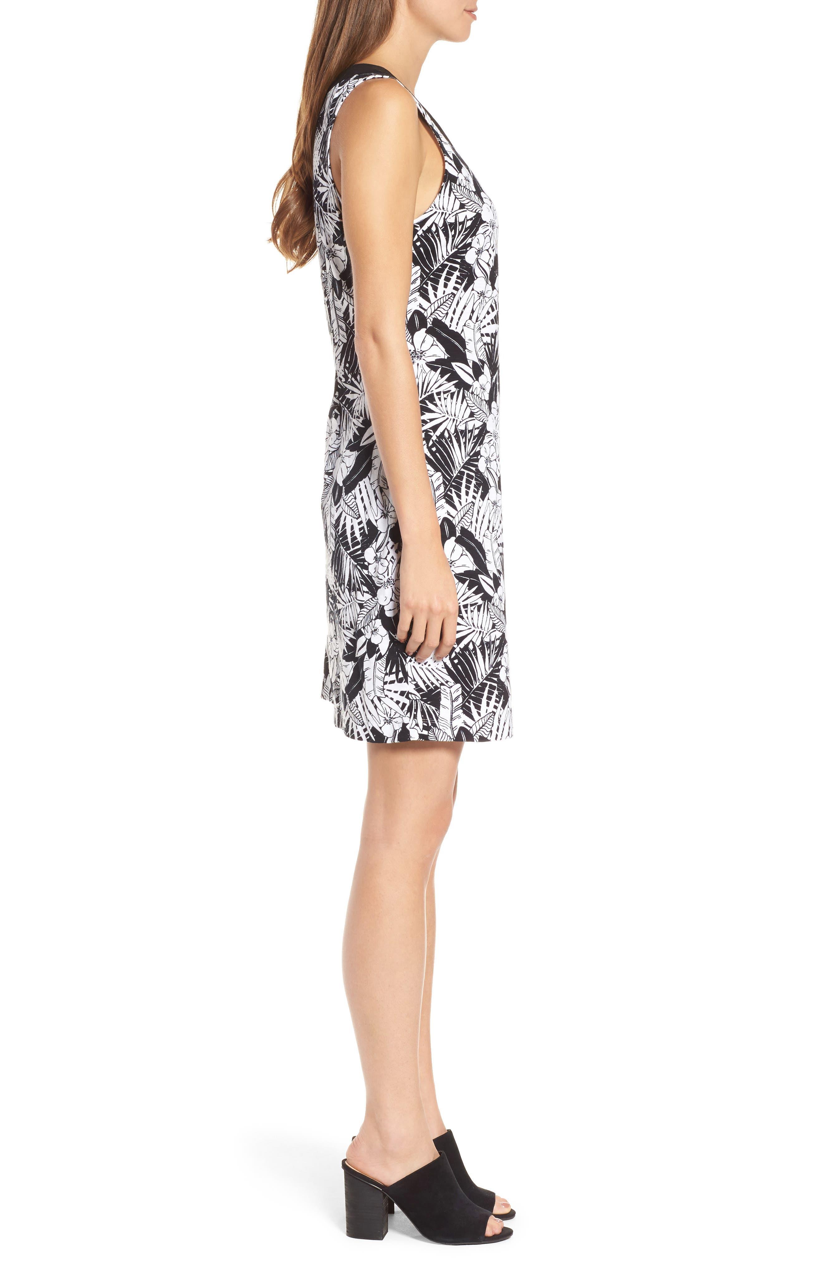 Palm Noir Sleeveless Tunic Dress,                             Alternate thumbnail 3, color,                             BLACK