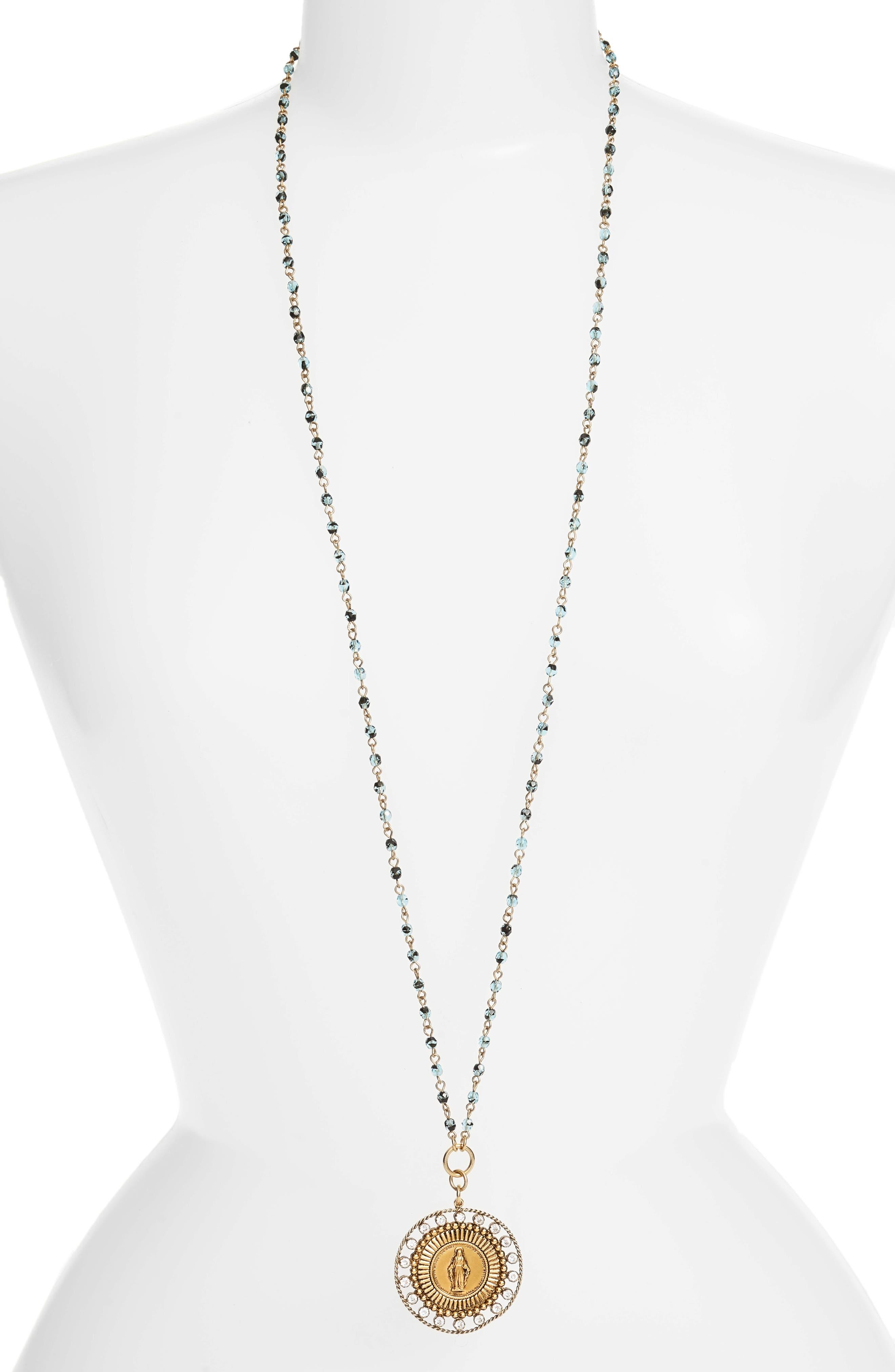 Fobbed Virgin Pendant Necklace, Main, color, BLUE TORTOISE/ GOLD