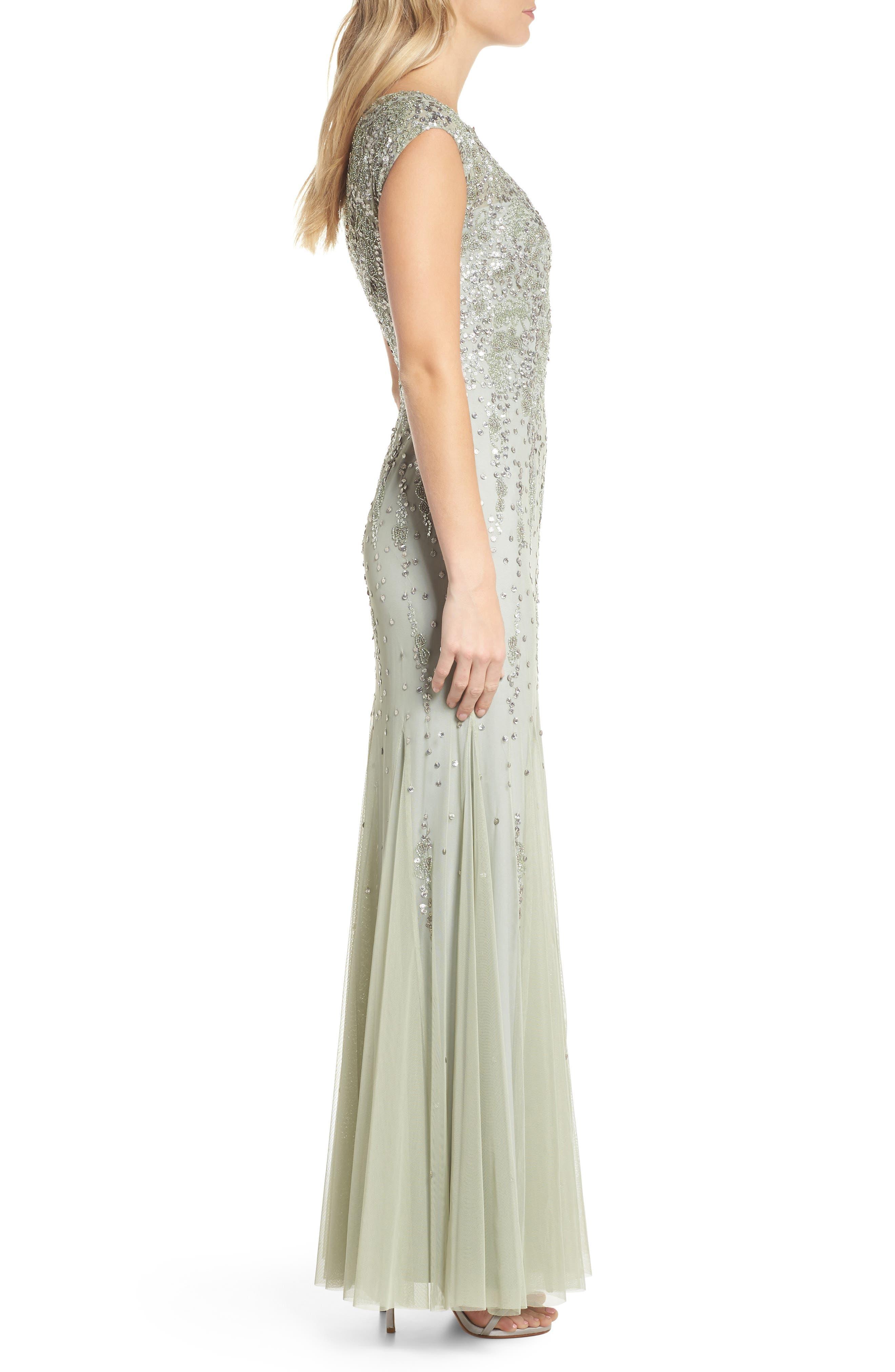 Beaded Mermaid Gown,                             Alternate thumbnail 3, color,                             330