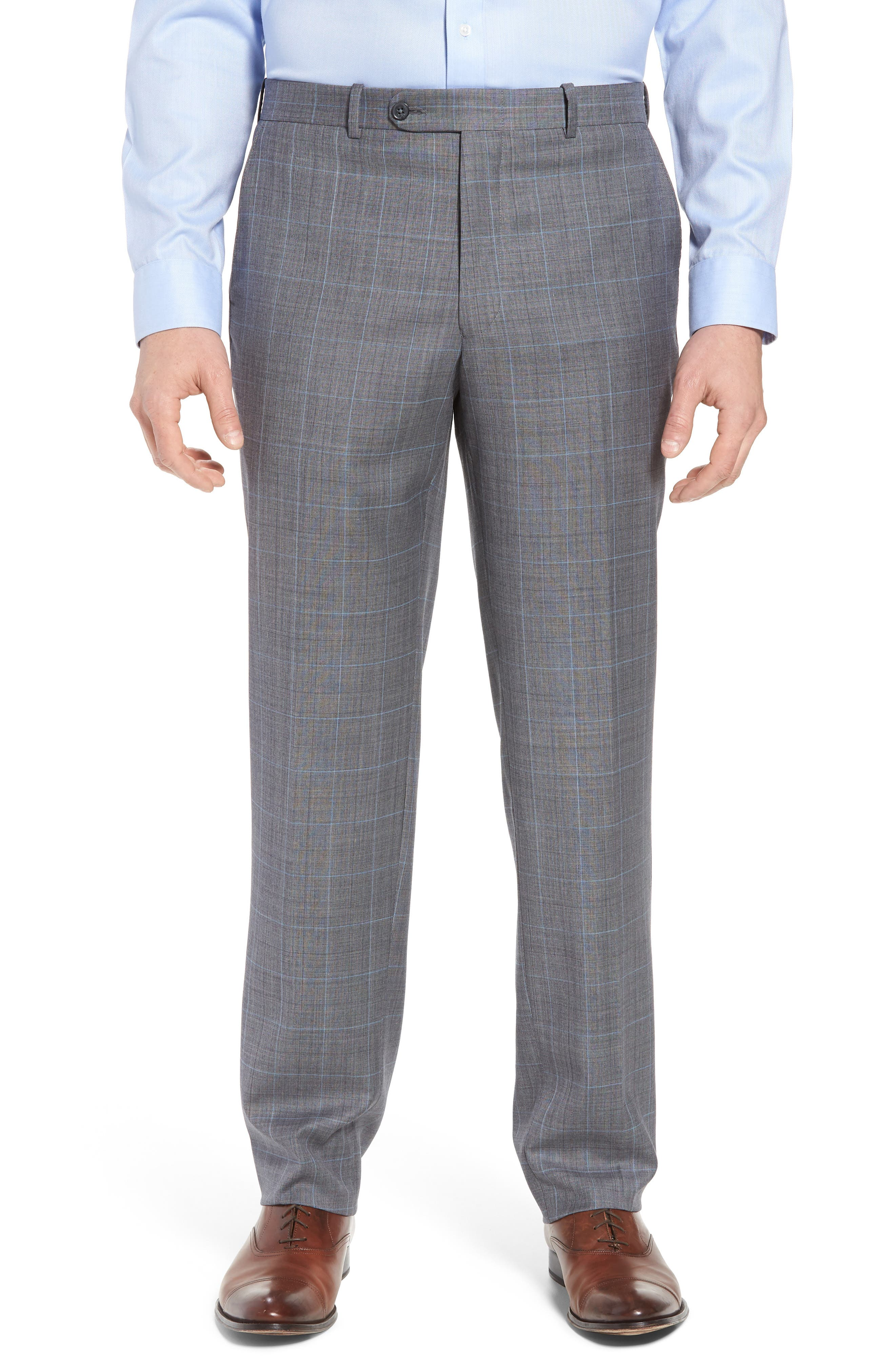 Classic Fit Windowpane Wool Suit,                             Alternate thumbnail 6, color,                             050