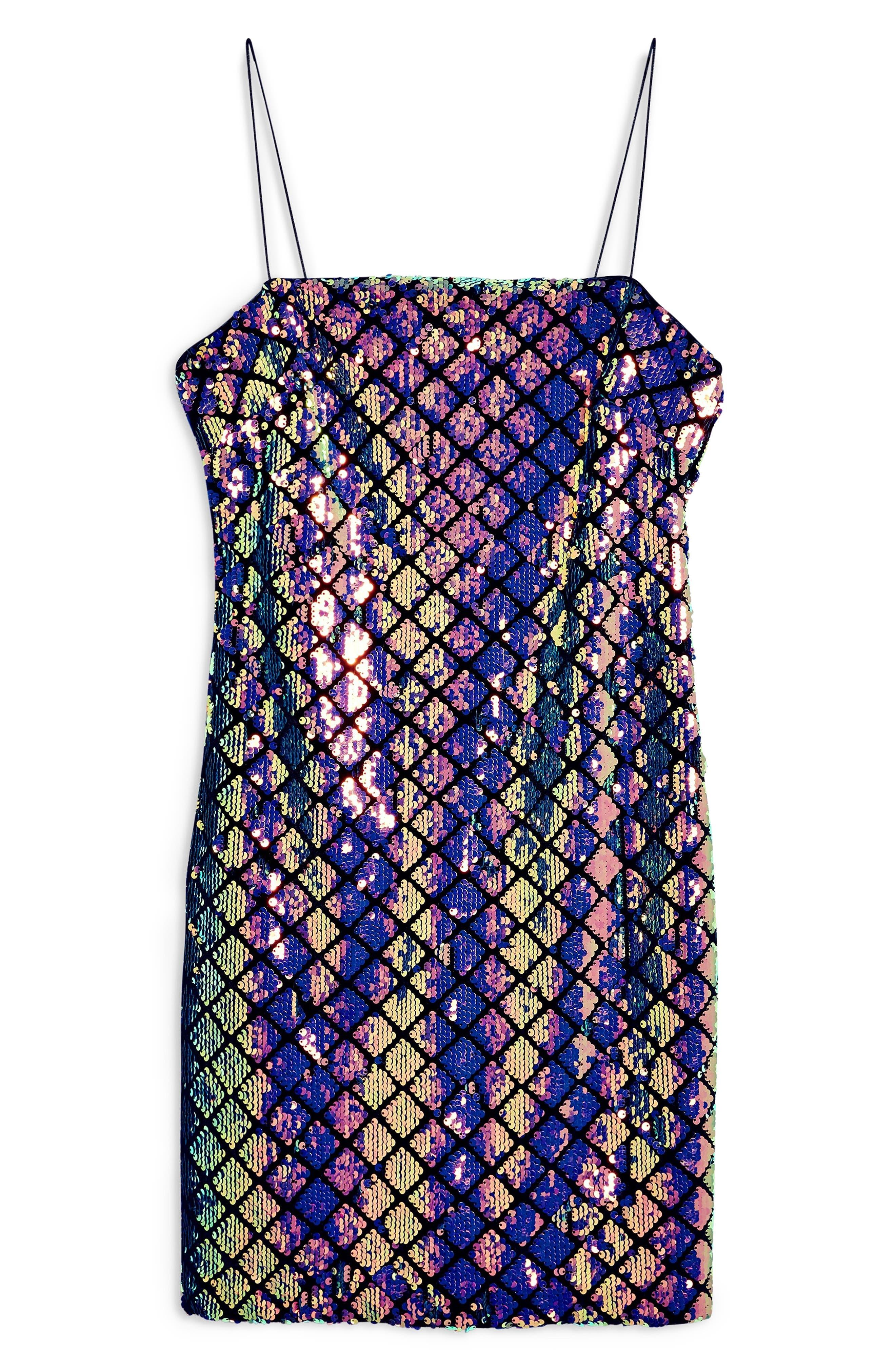 TOPSHOP,                             Diamond Sequin Slipdress,                             Alternate thumbnail 4, color,                             400