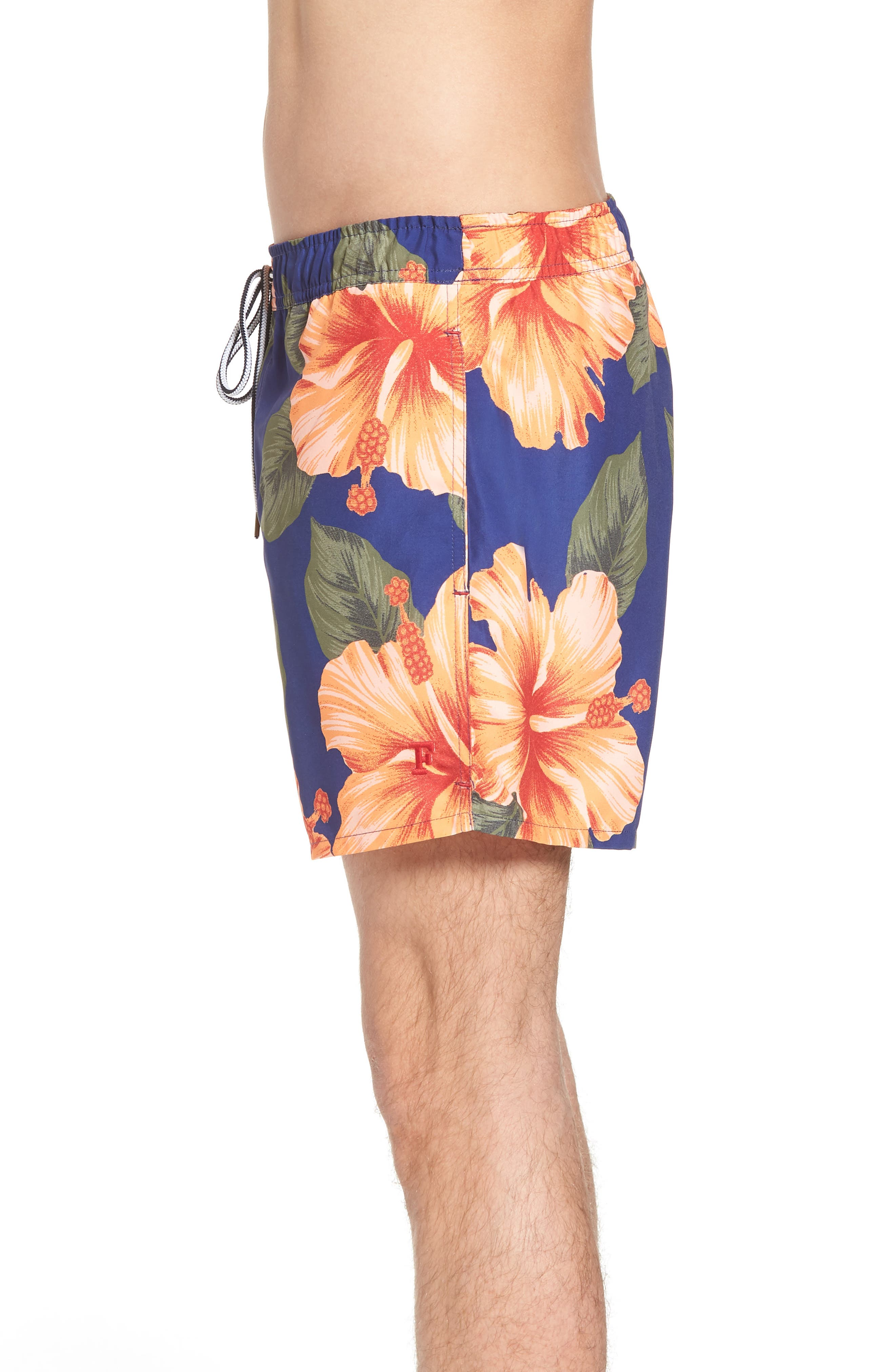 Wela Hawaiian Slim Fit Swim Trunks,                             Alternate thumbnail 3, color,                             DEEP COBALT