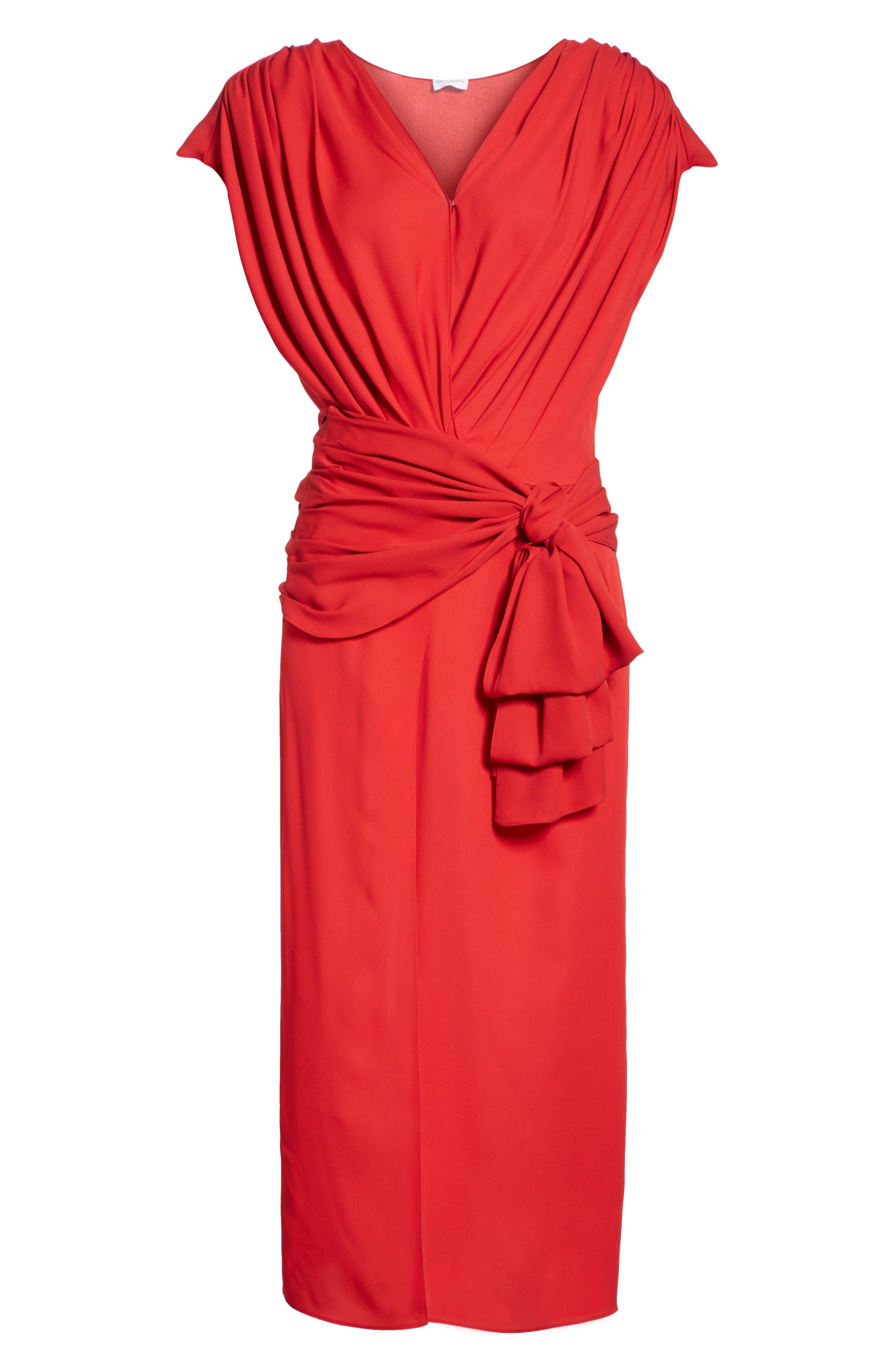 Tie Waist Silk Dress,                             Alternate thumbnail 6, color,