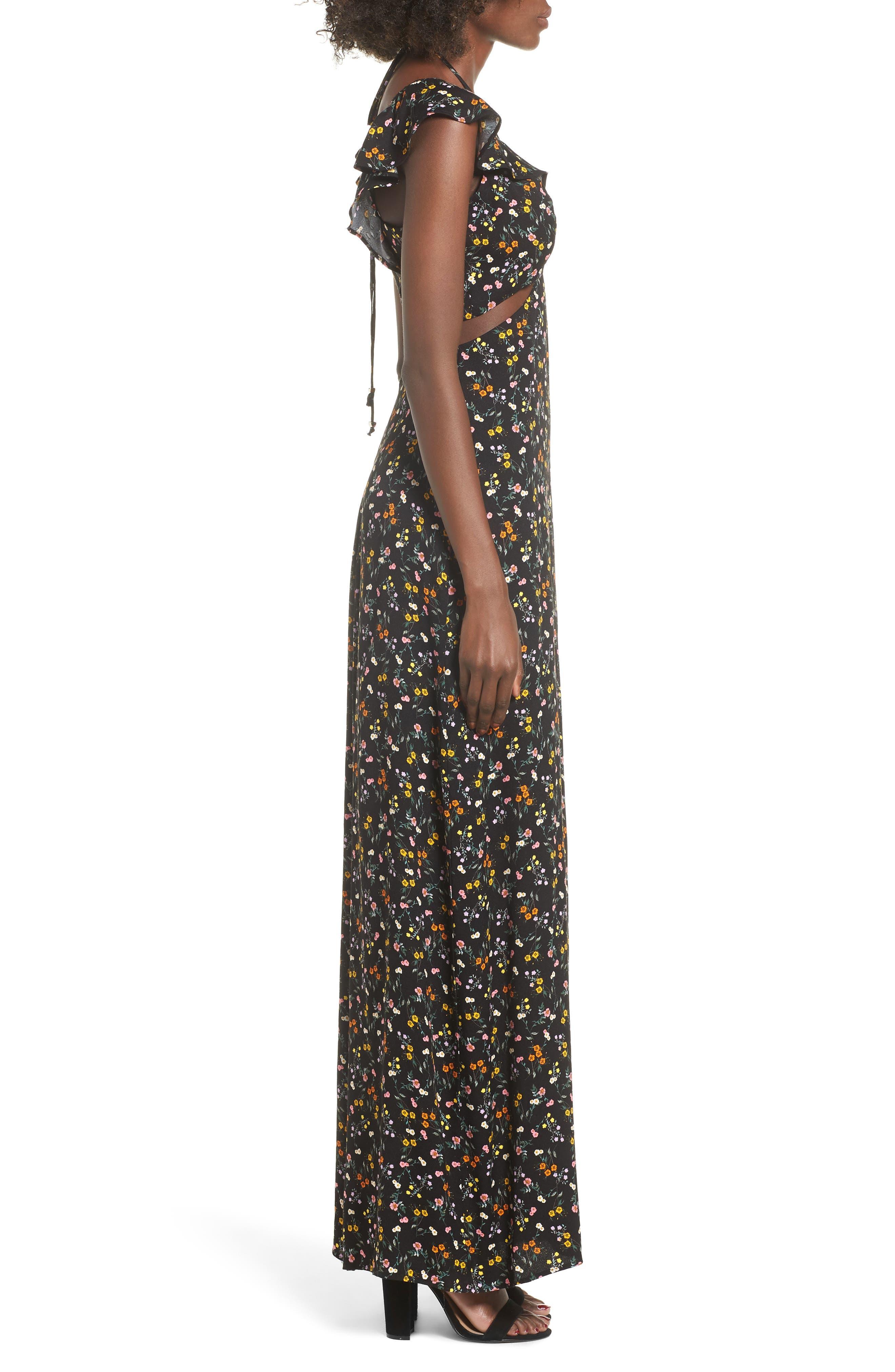 Alya Maxi Dress,                             Alternate thumbnail 3, color,                             001