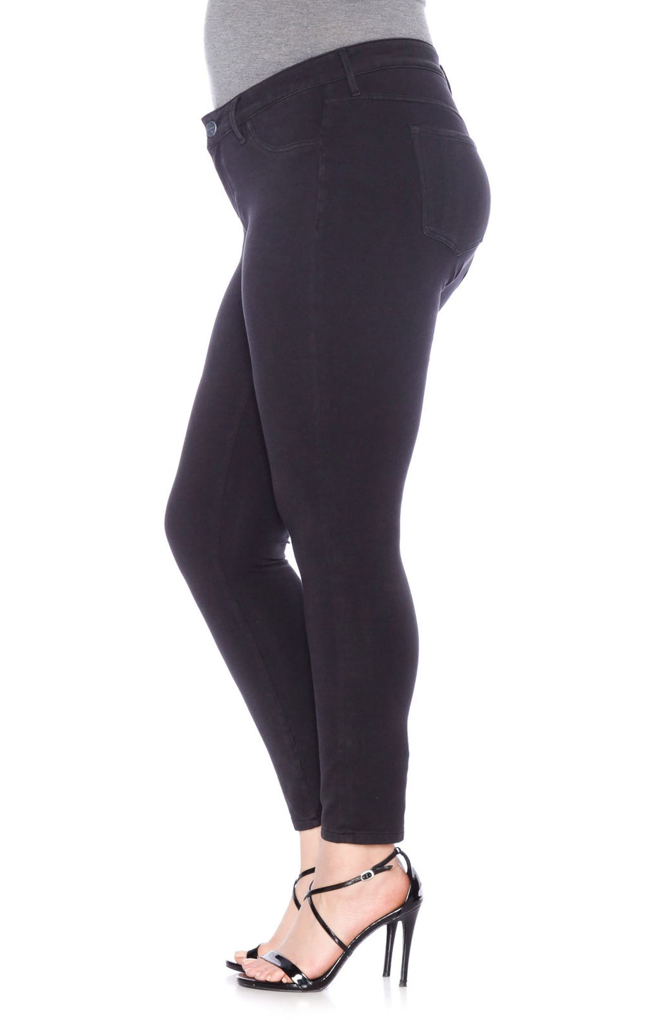 Super Knit Denim Leggings,                             Alternate thumbnail 2, color,                             BLACK