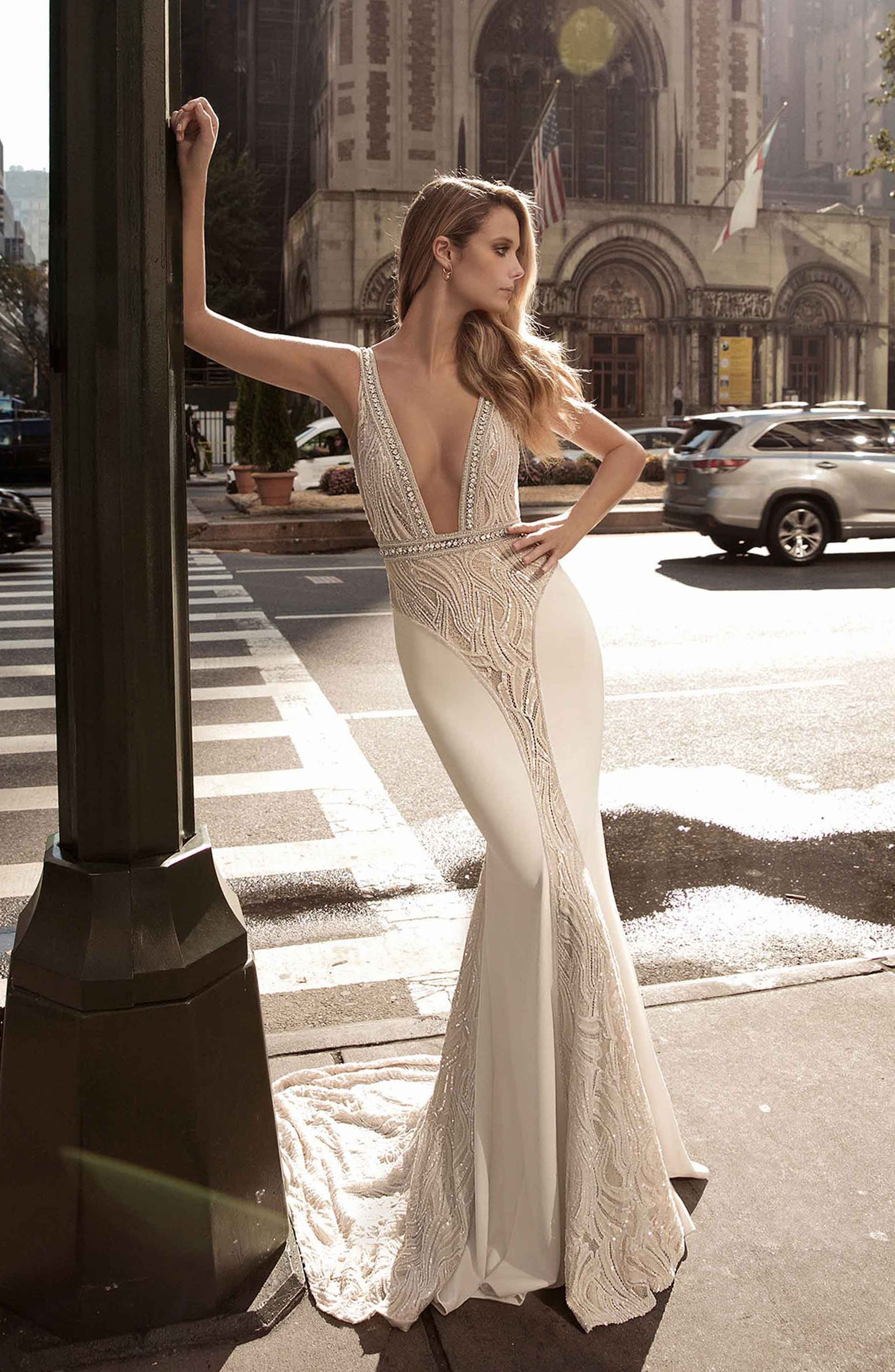 Plunge Neck Illusion Mermaid Gown,                             Alternate thumbnail 2, color,                             IVORY