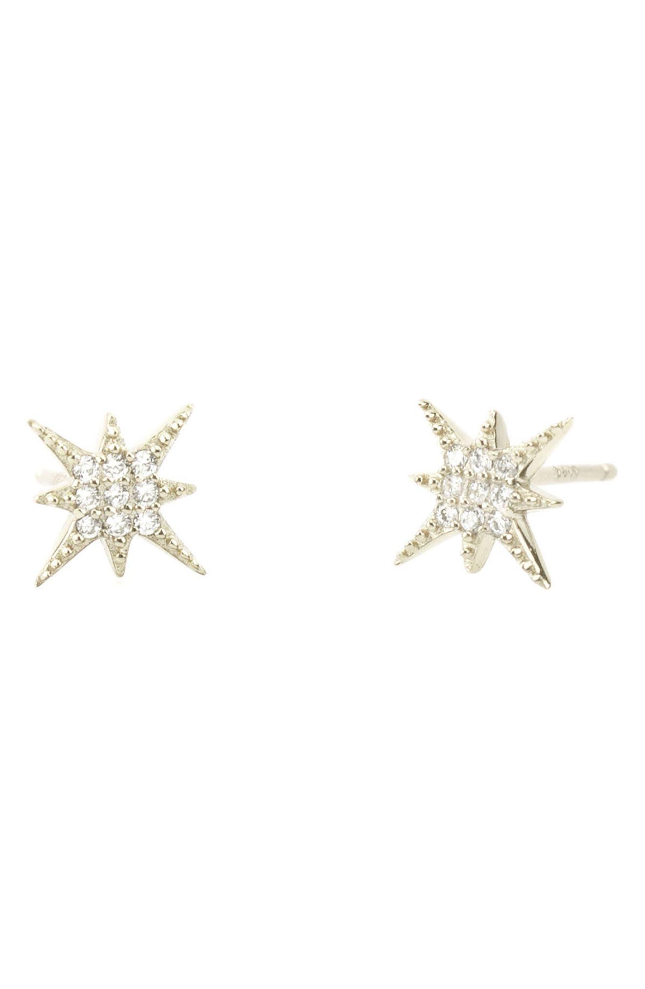 Pavé Starburst Stud Earrings,                             Main thumbnail 1, color,