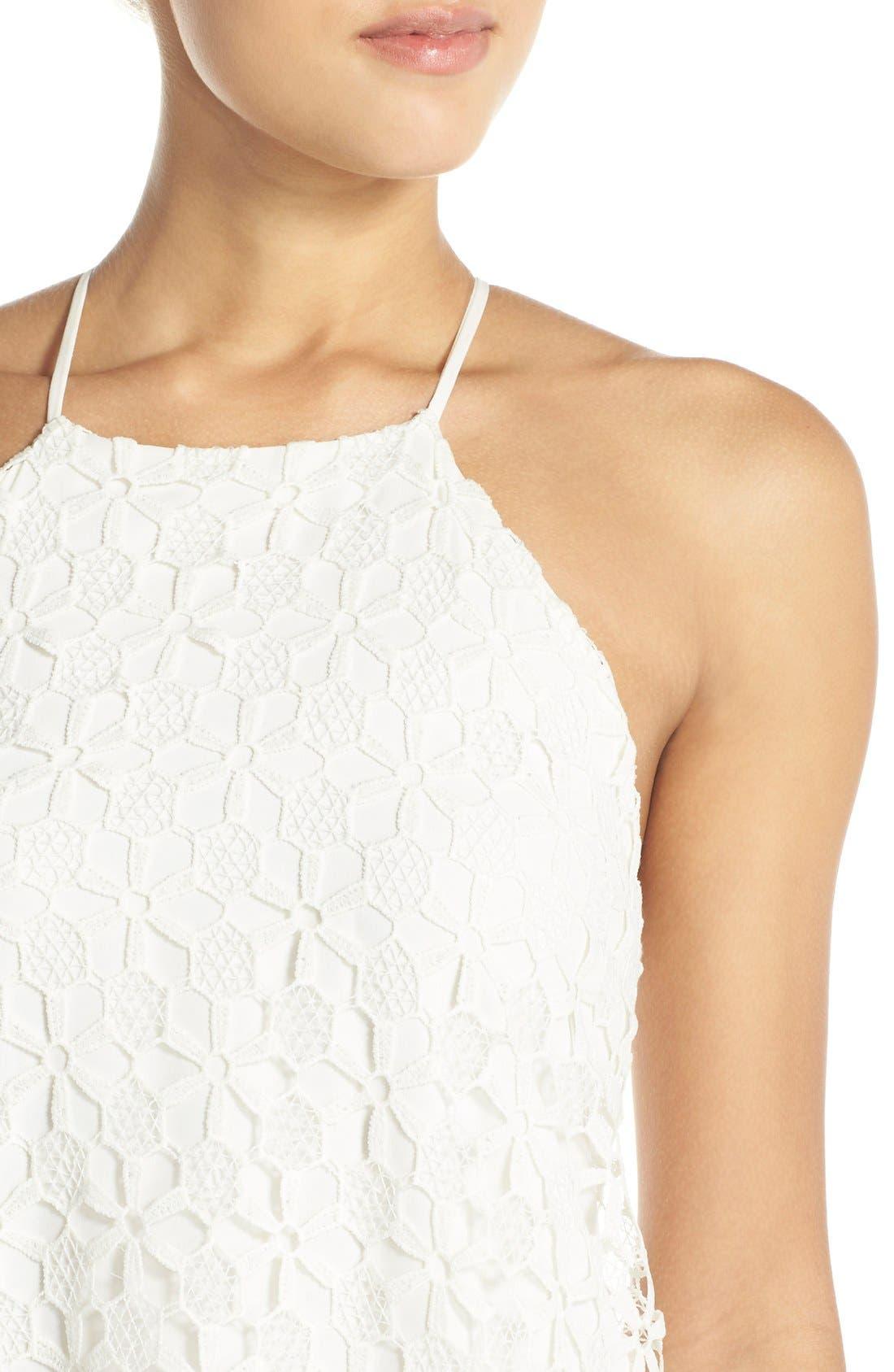 Floral Lace Trapeze Halter Dress,                             Alternate thumbnail 4, color,                             100