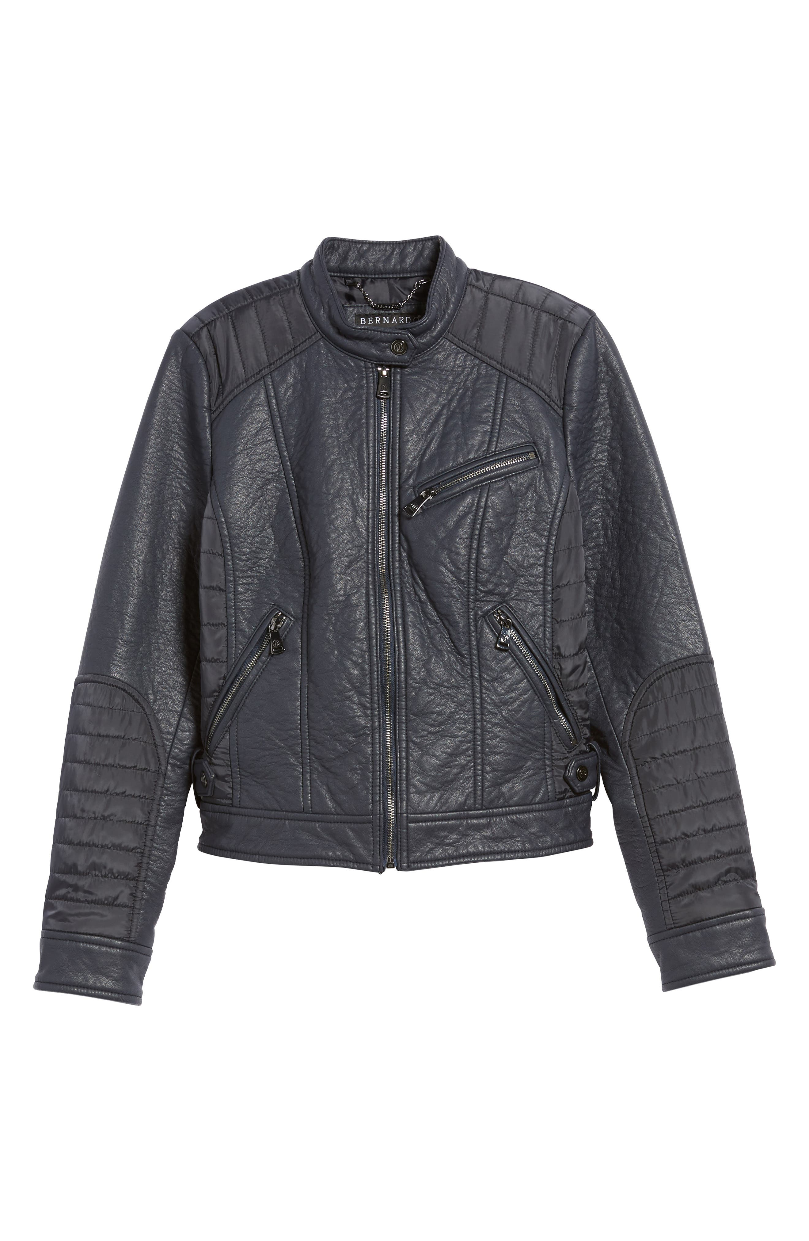 Mixed Media Faux Leather Jacket,                             Alternate thumbnail 5, color,                             412