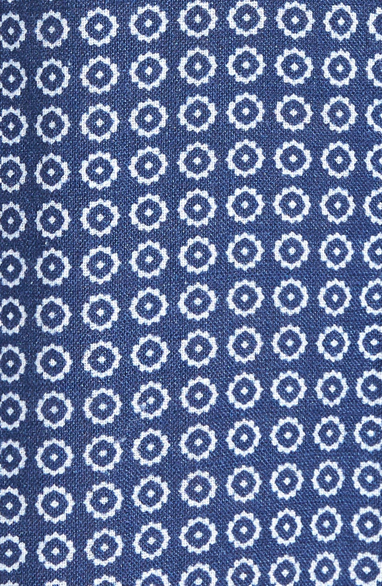 Windham Print Slim Fit Linen Sport Shirt,                             Alternate thumbnail 5, color,                             NAVY