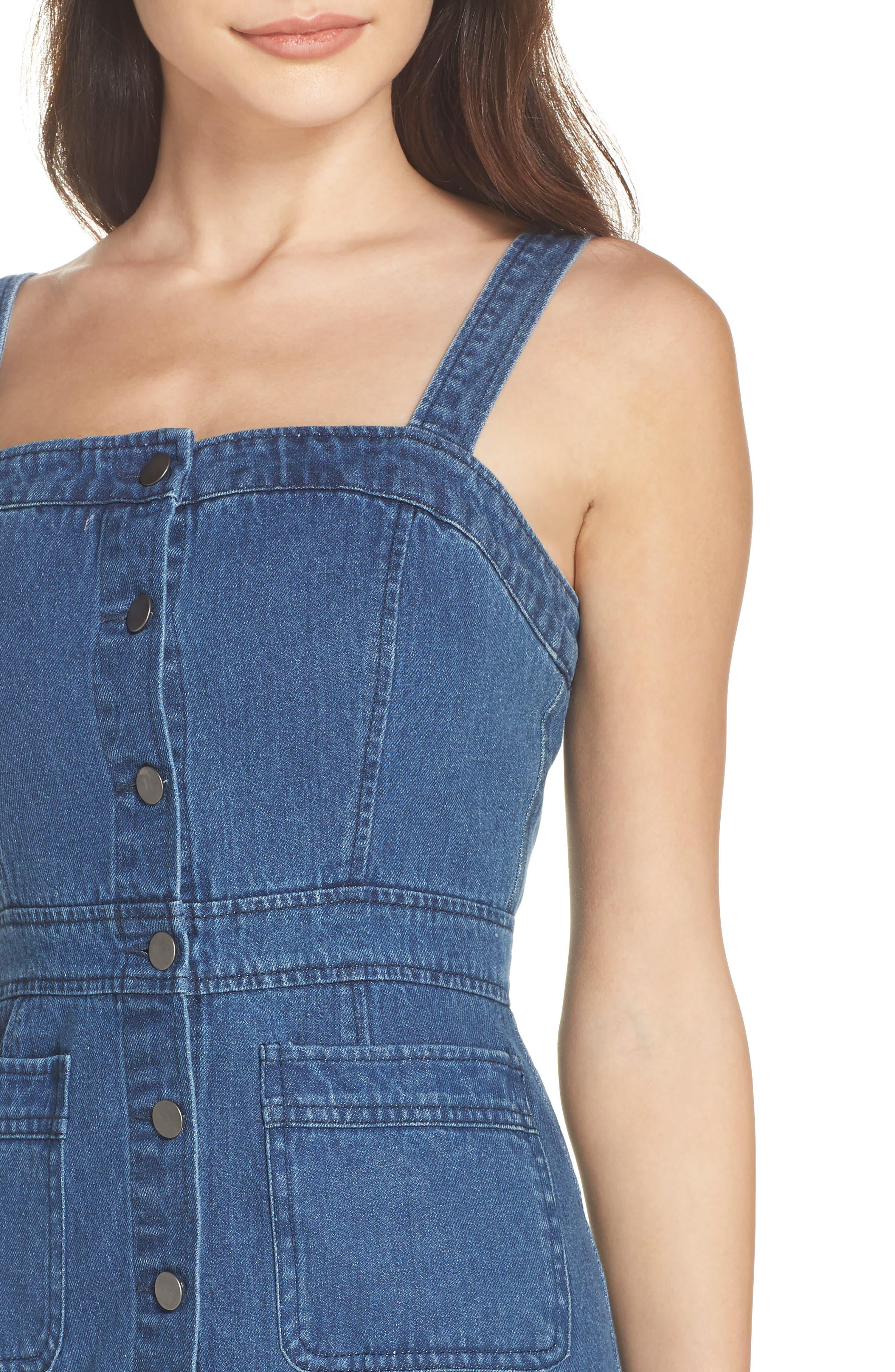 Button Front Denim Dress,                             Alternate thumbnail 4, color,                             401
