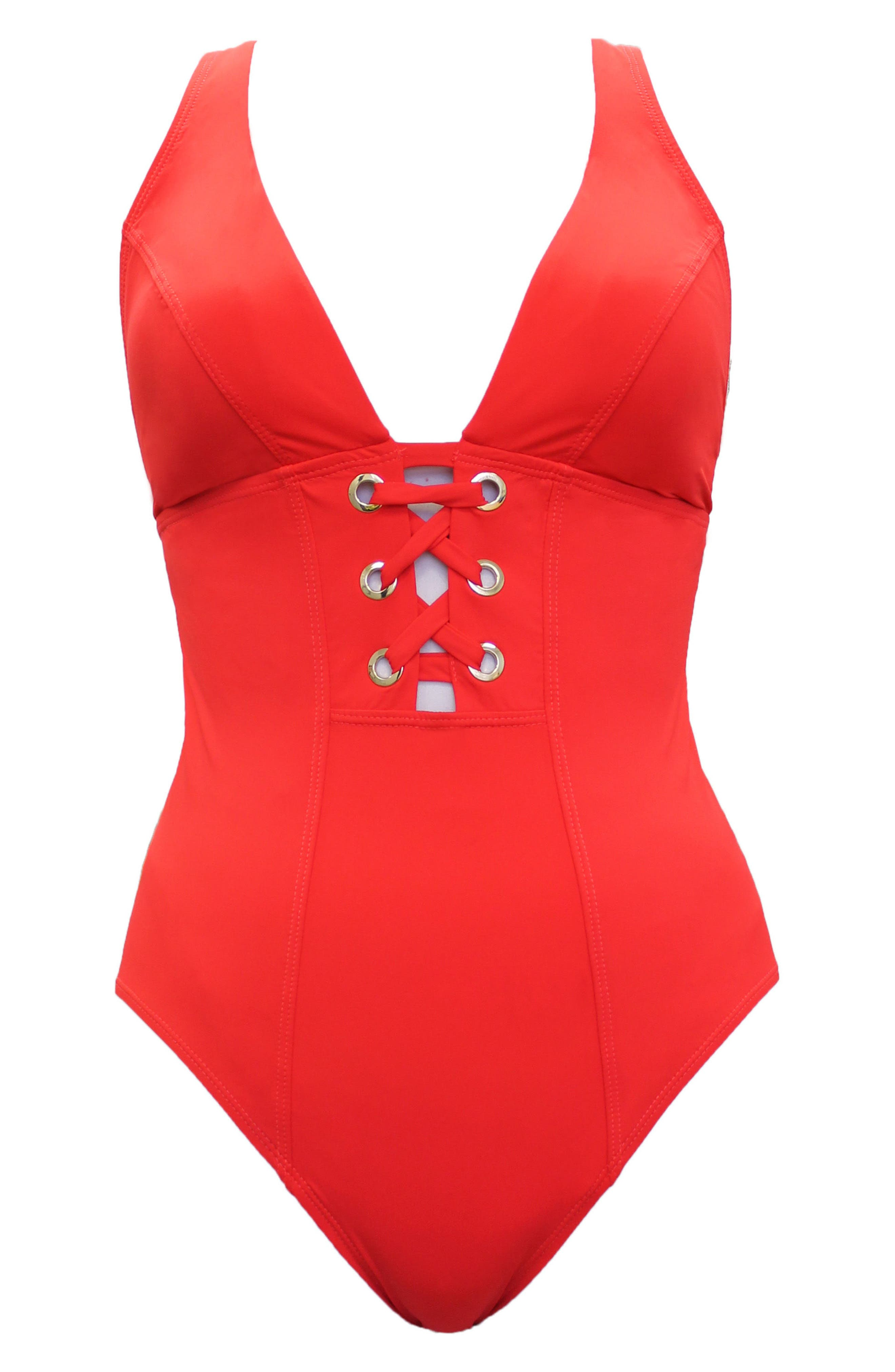 Stella Cassiopeia One-Piece Swimsuit,                             Alternate thumbnail 3, color,                             BASH RED