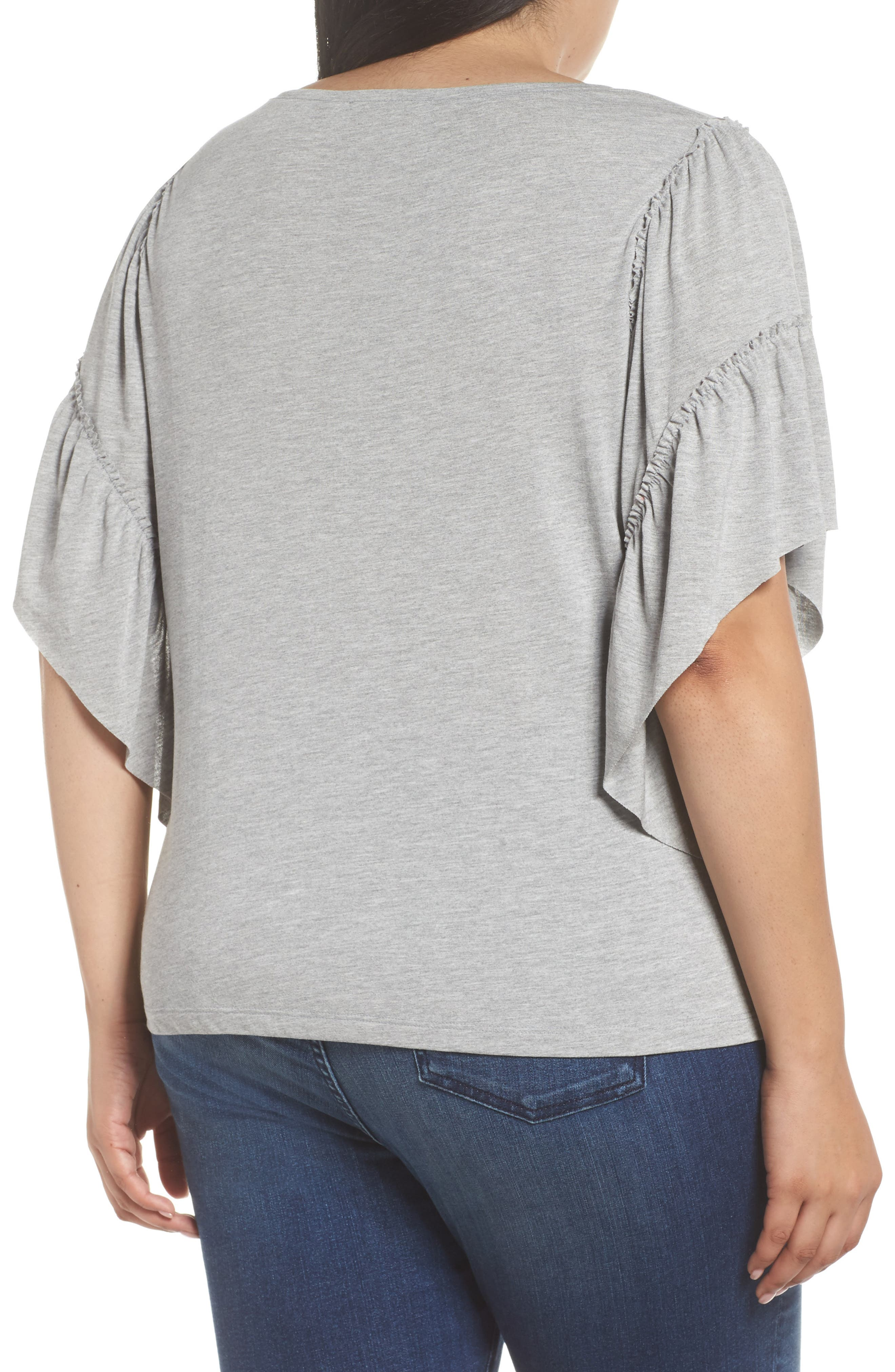 Frill Sleeve Tee,                             Alternate thumbnail 2, color,                             030