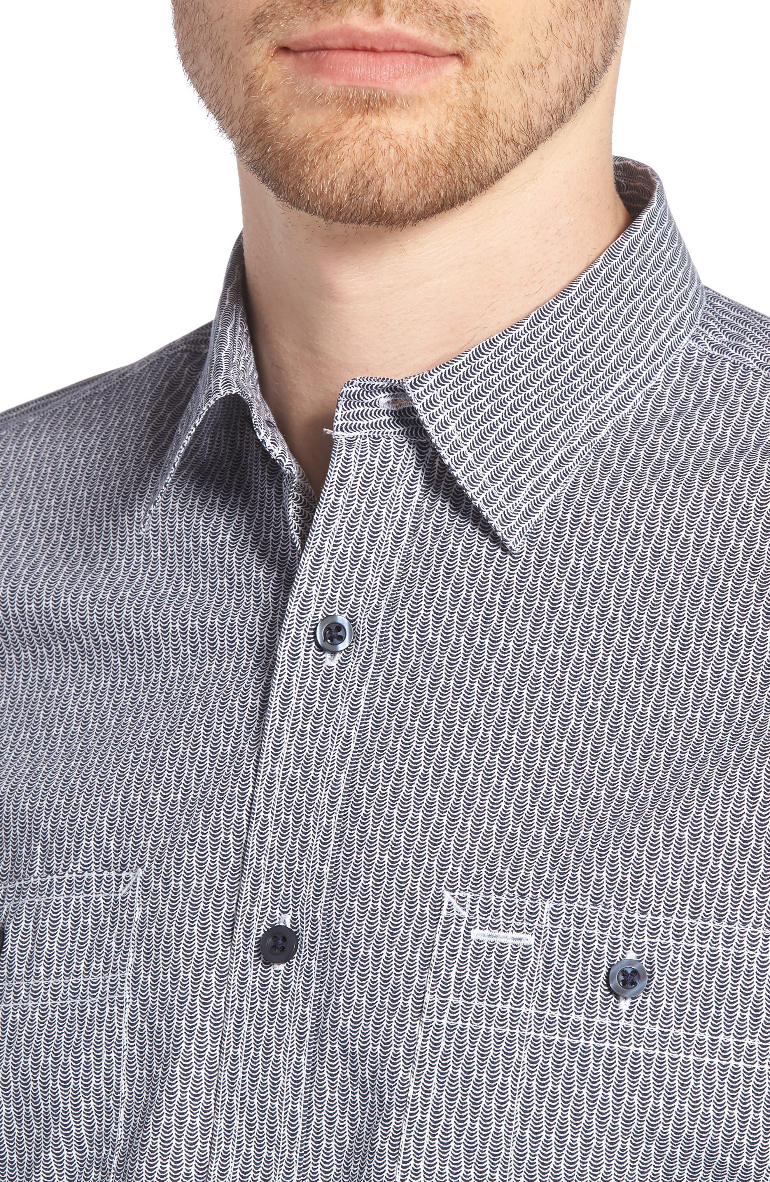 Workwear Trim Fit Print Sport Shirt,                             Alternate thumbnail 4, color,
