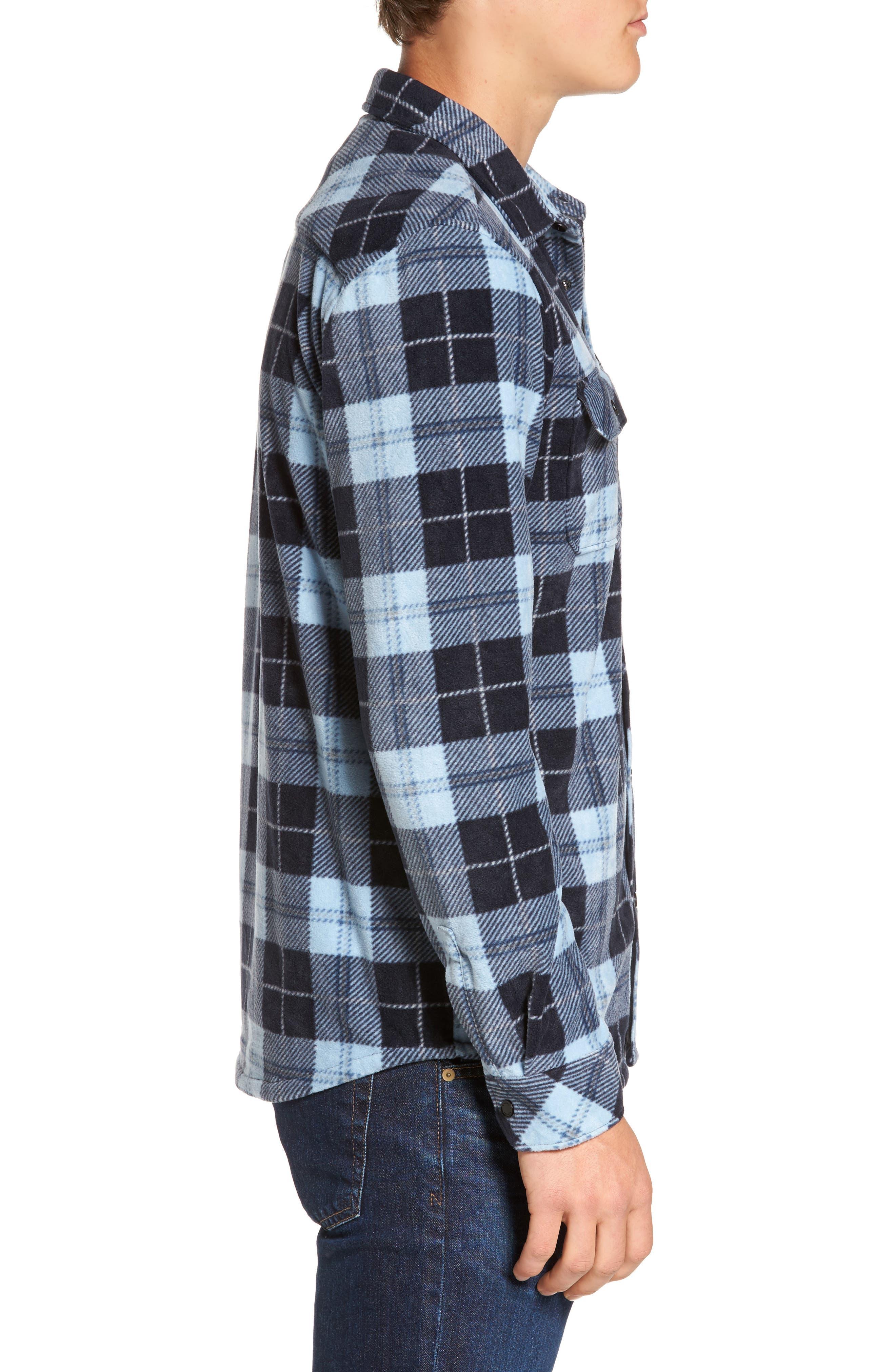 Glacier Plaid Fleece Flannel Shirt,                             Alternate thumbnail 15, color,