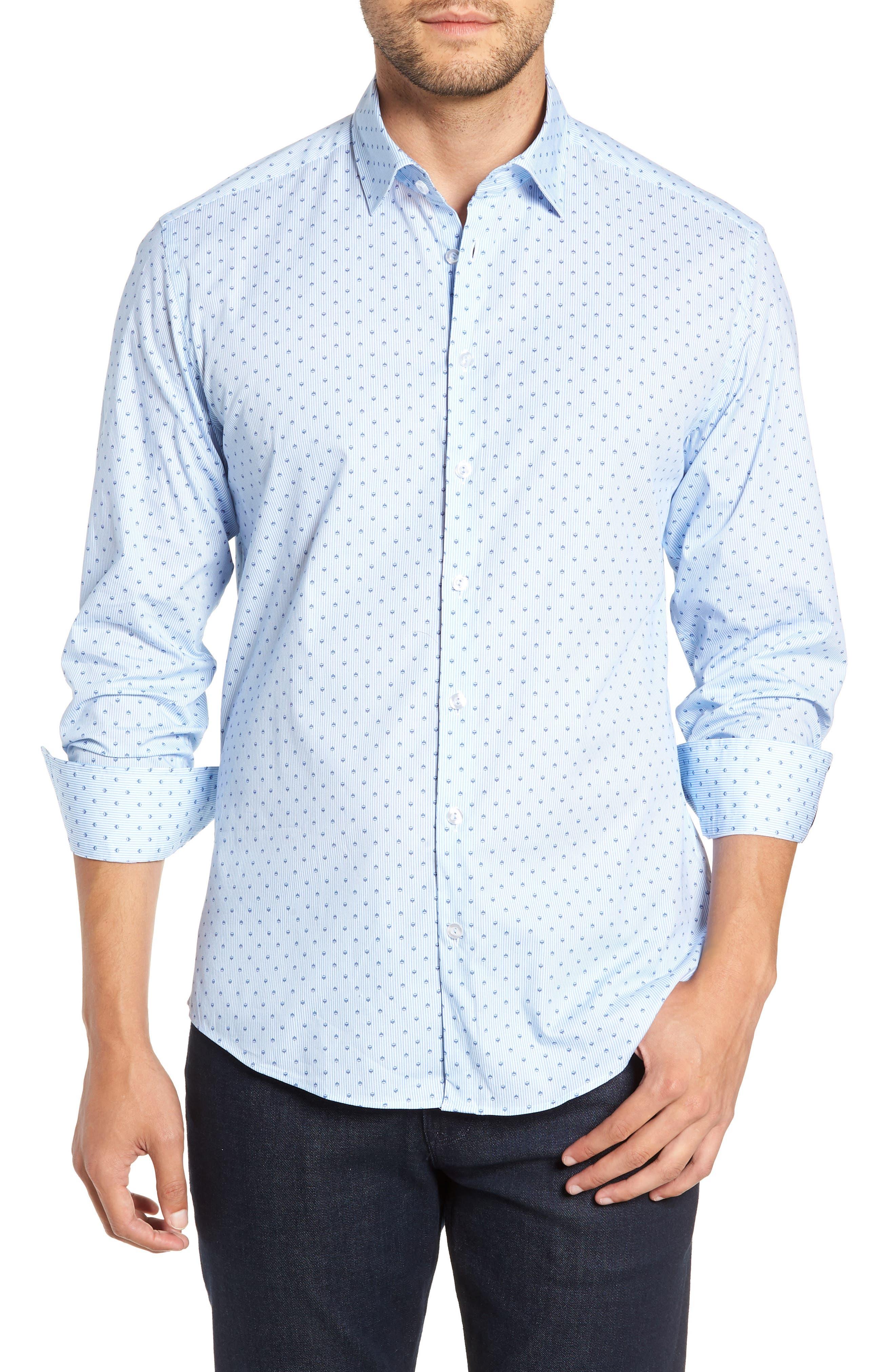 Trim Fit Print Sport Shirt,                             Main thumbnail 1, color,                             BLUE