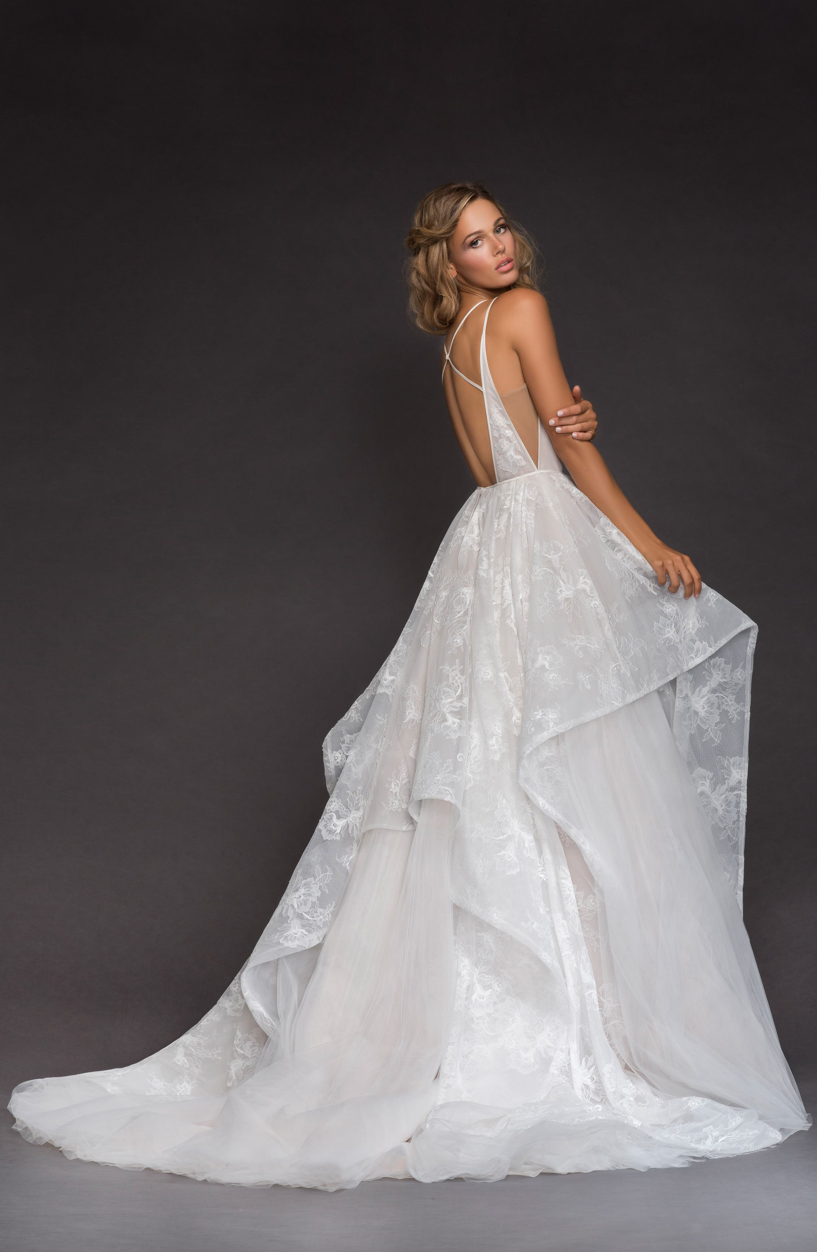 Kellan Lace & Tulle Ballgown,                             Alternate thumbnail 2, color,                             IVORY/ CASHMERE