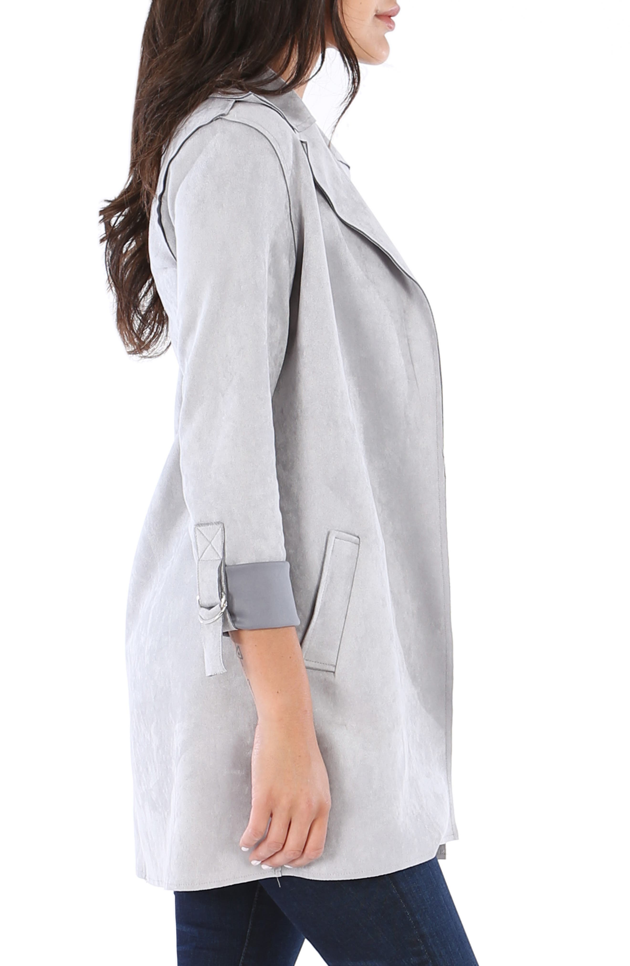 KUT FROM THE KLOTH,                             Faye Long Jacket,                             Alternate thumbnail 3, color,                             SILVER