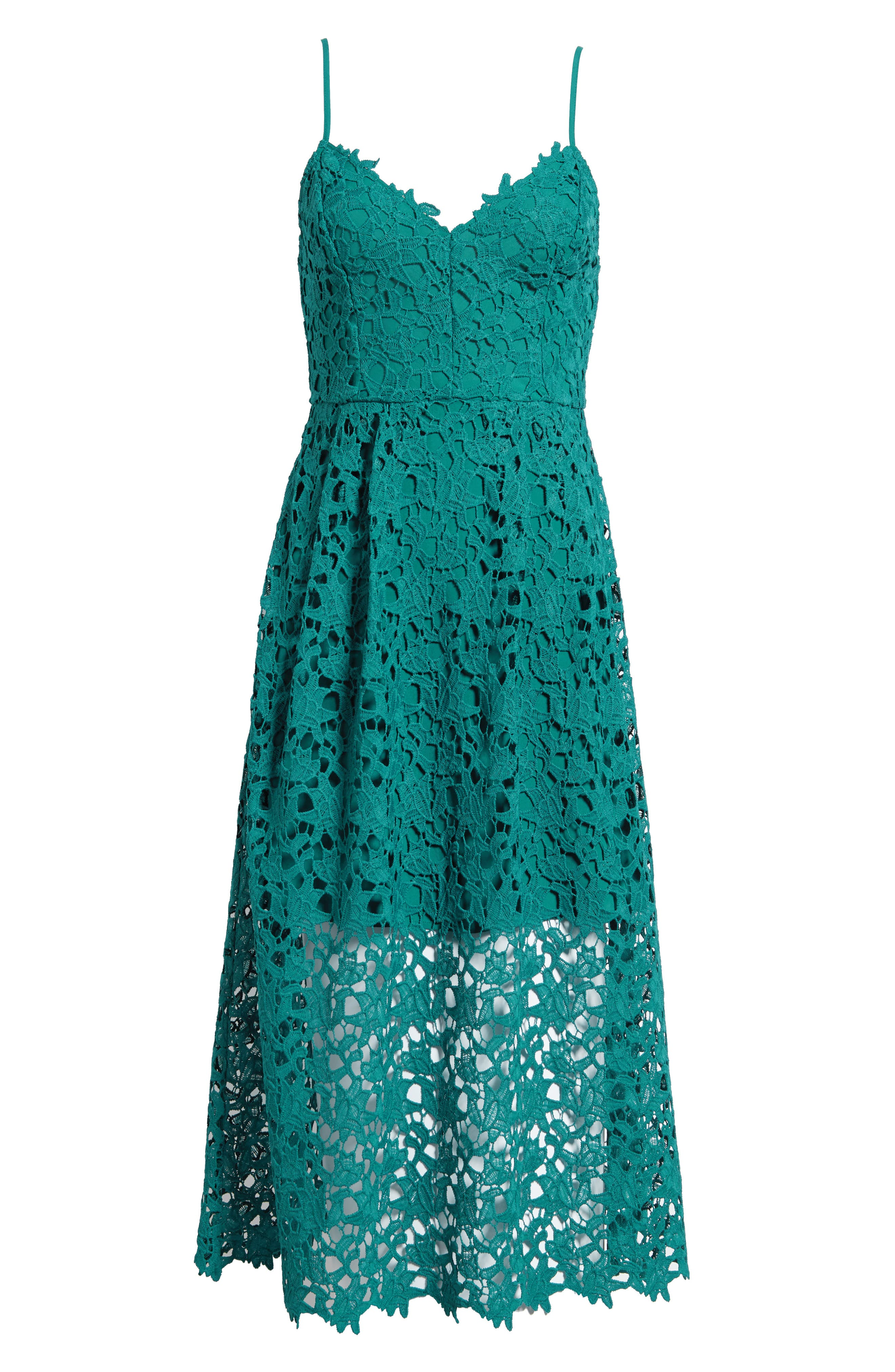 Lace Midi Dress,                             Alternate thumbnail 8, color,                             JADE GREEN