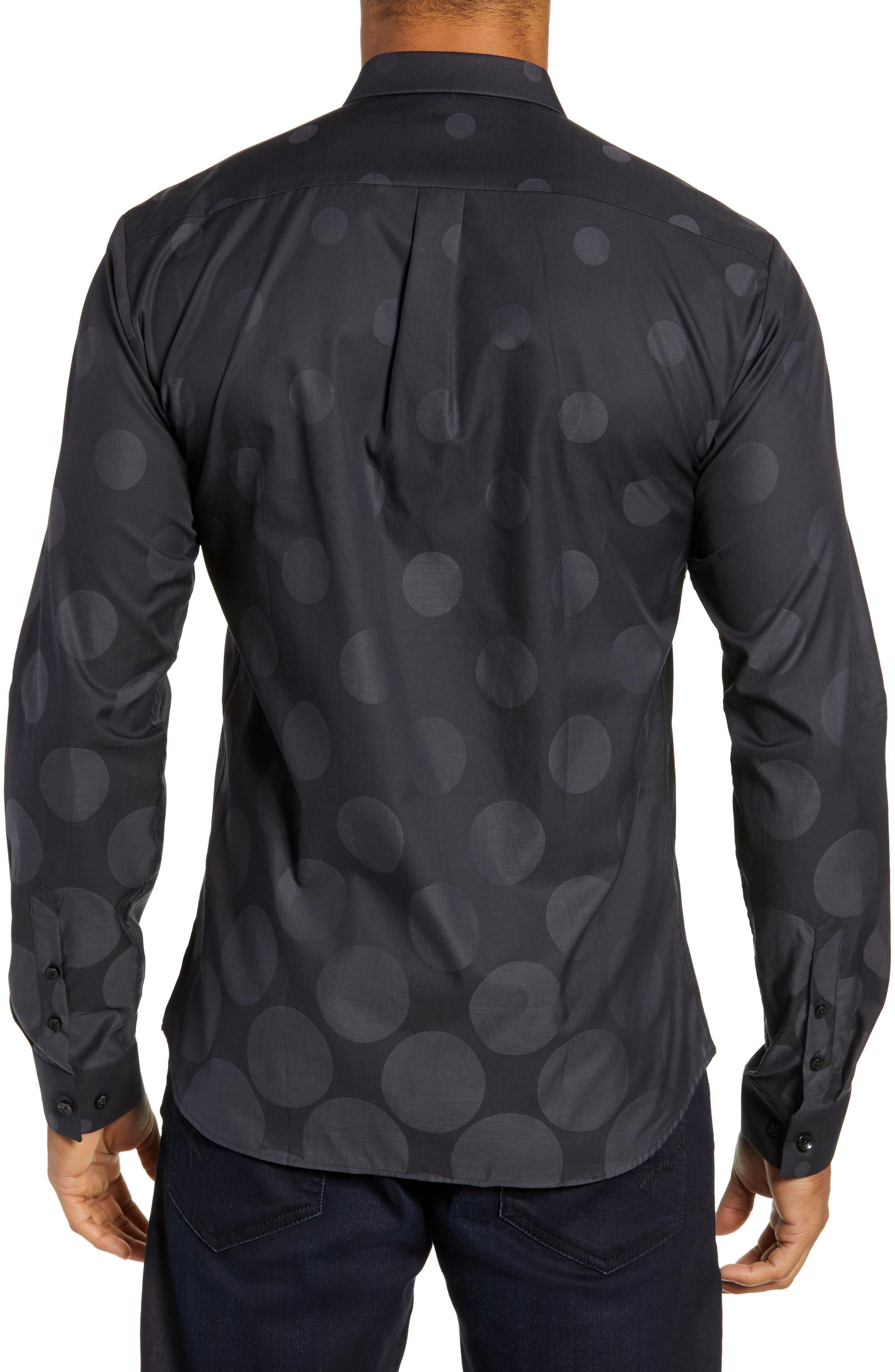 Print Sport Shirt,                             Alternate thumbnail 3, color,                             BLACK GRADUATED POLKA DOT
