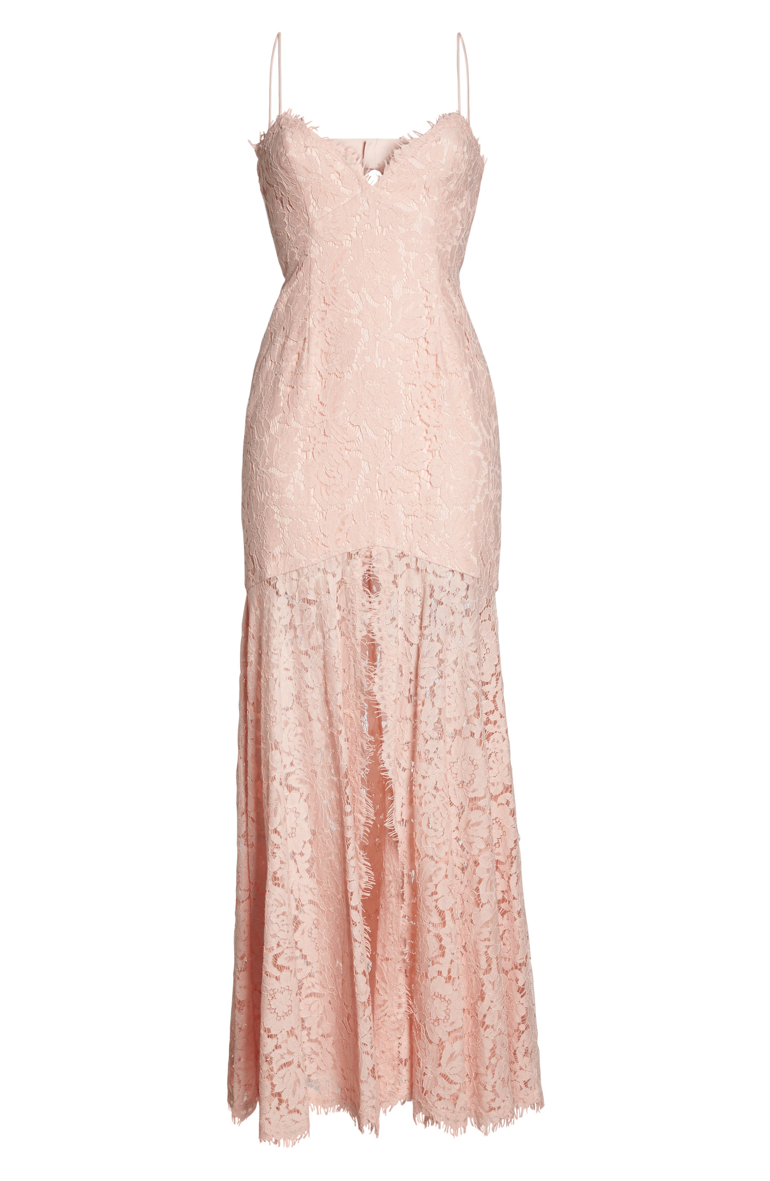 Babe Lace Gown,                             Alternate thumbnail 7, color,                             PALE PINK