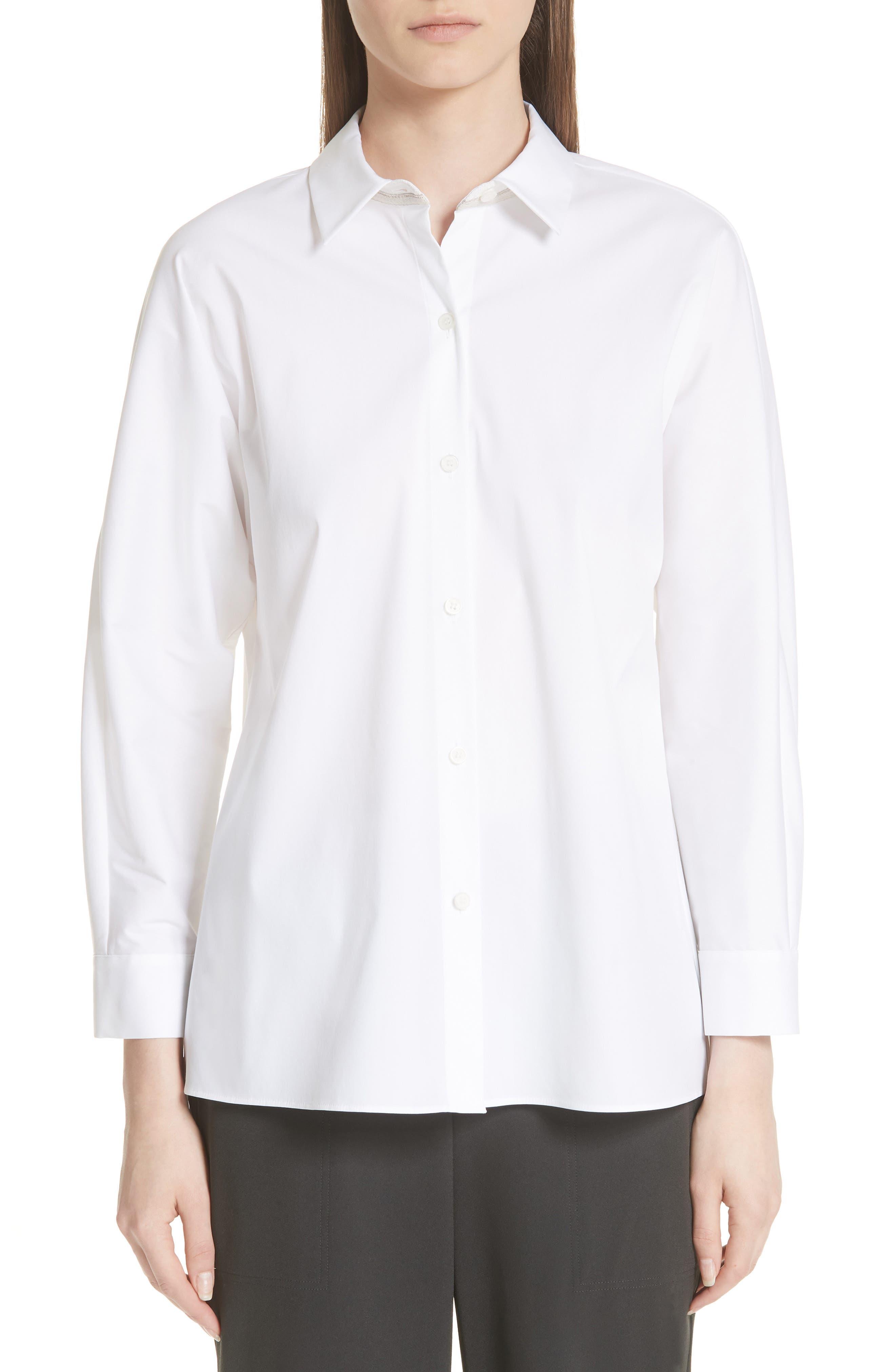 Felicity Cotton Blend Blouse,                             Main thumbnail 1, color,                             WHITE