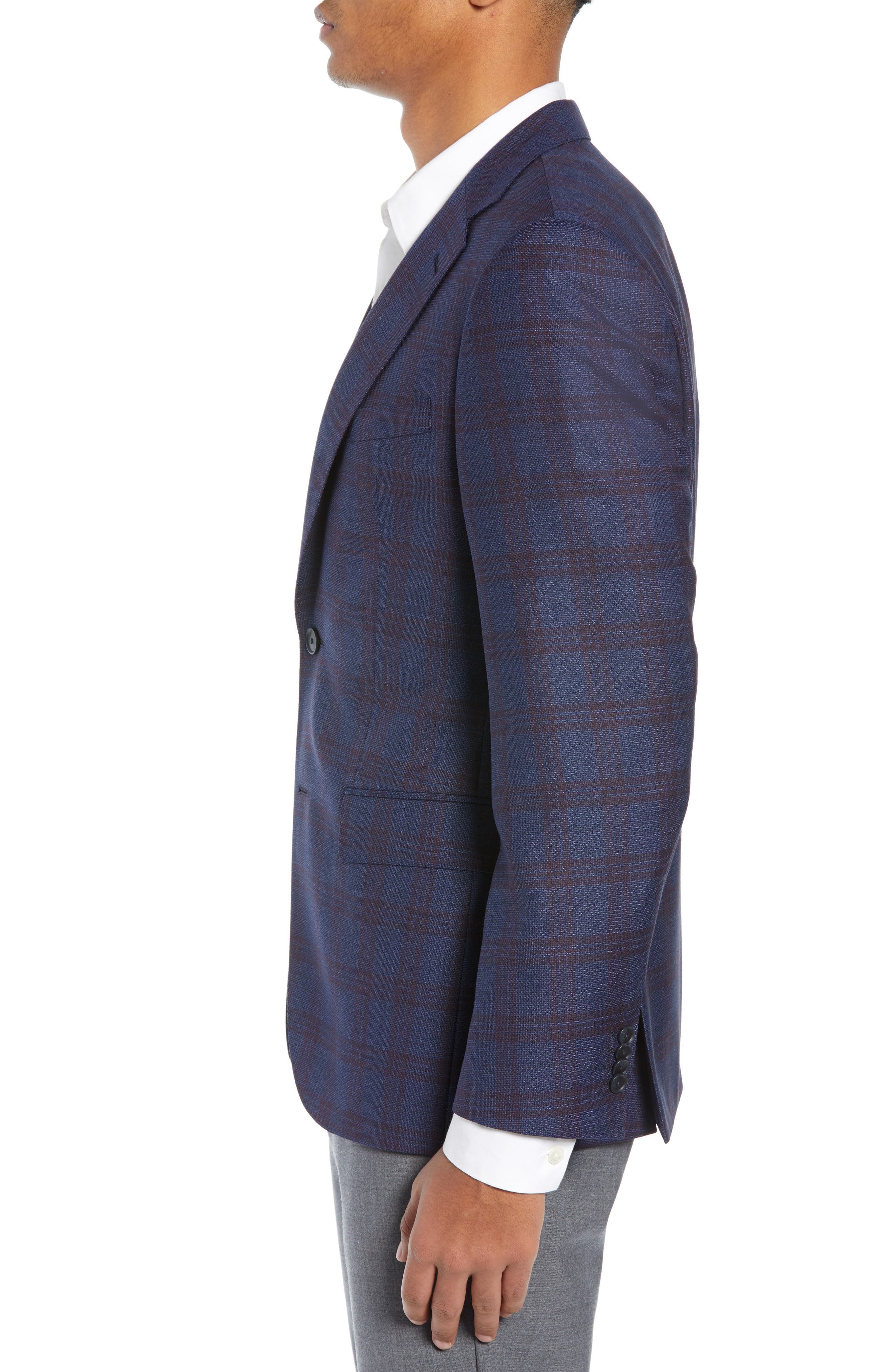 Jewels Classic Fit Plaid Wool Sport Coat,                             Alternate thumbnail 3, color,                             OPEN BLUE