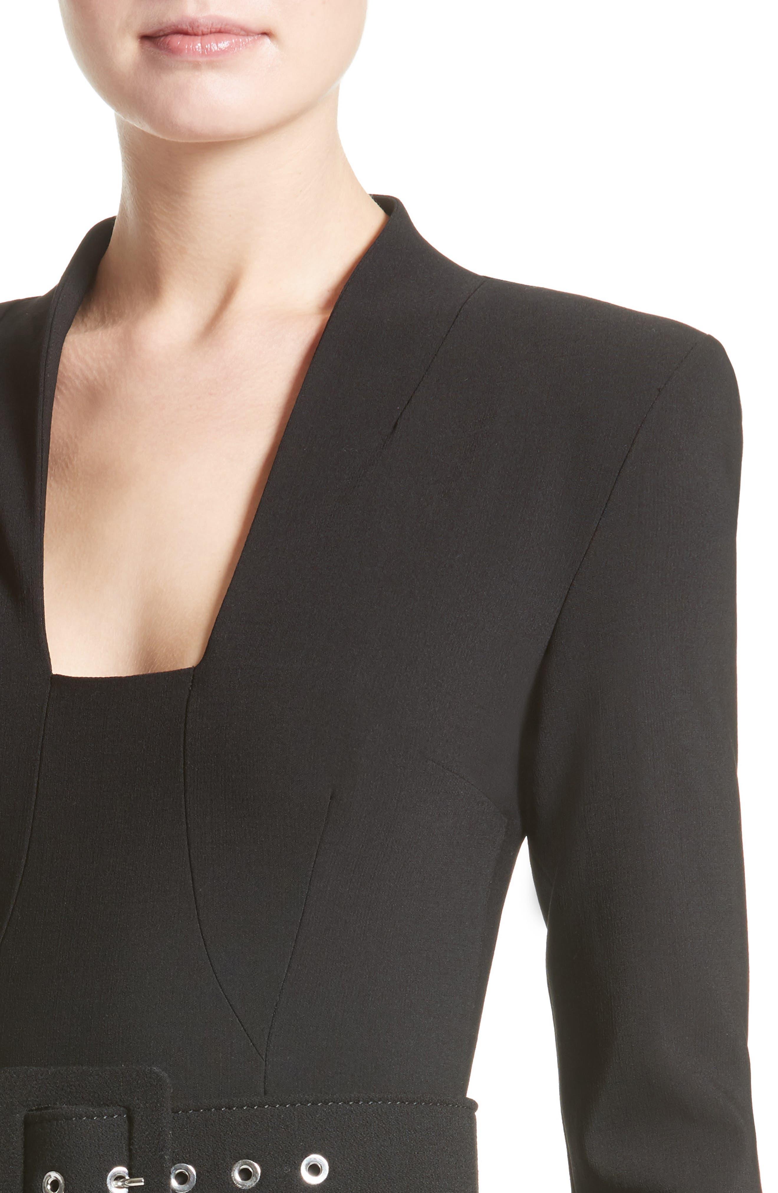 Stretch Pebble Crepe Bolero Sheath Dress,                             Alternate thumbnail 4, color,