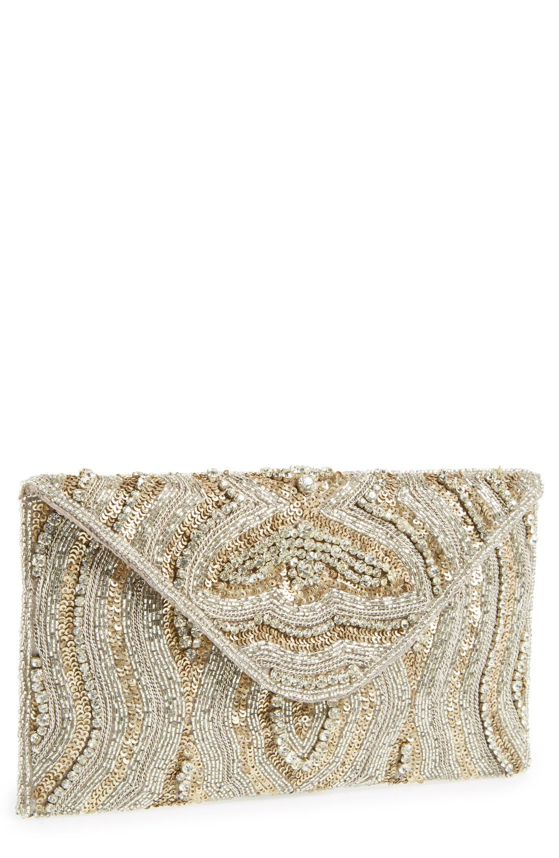 MICKY LONDON HANDBAGS Beaded Envelope Clutch, Main, color, 040