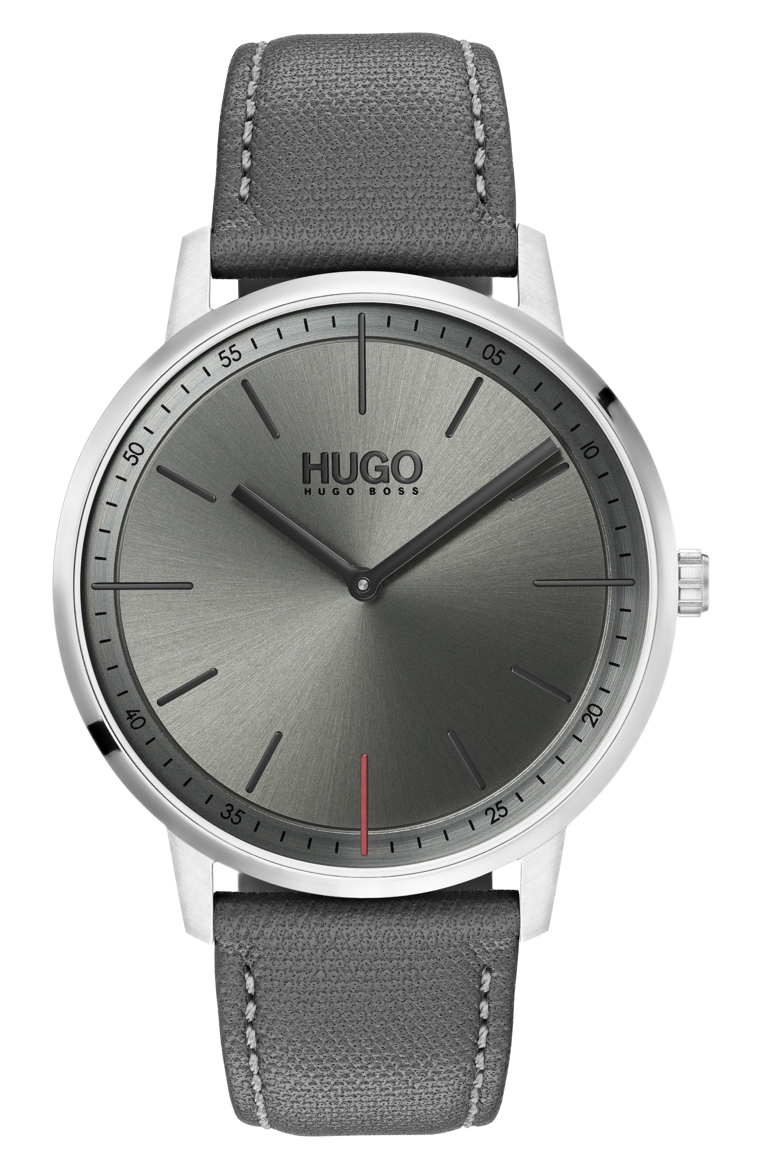 HUGO Exist Leather Strap Watch, 40Mm in Grey