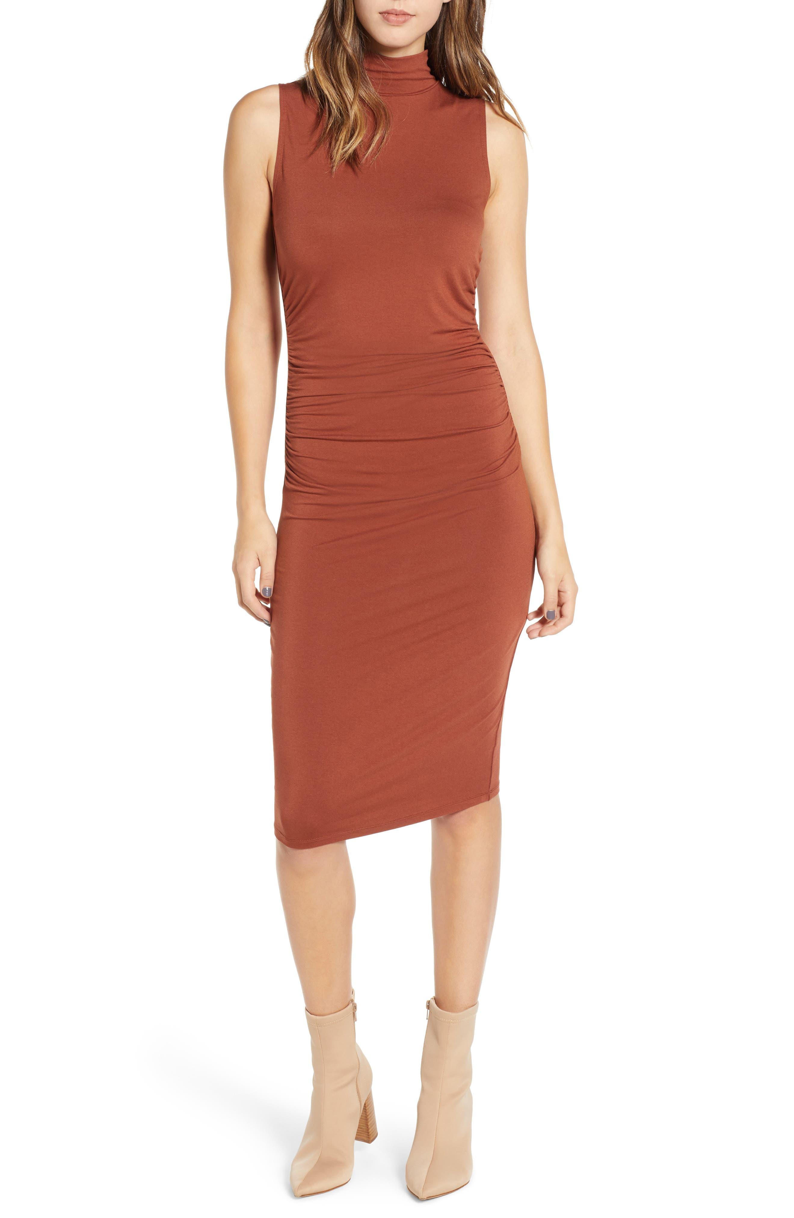 Plus Size Bp. Mock Neck Tank Dress, Brown