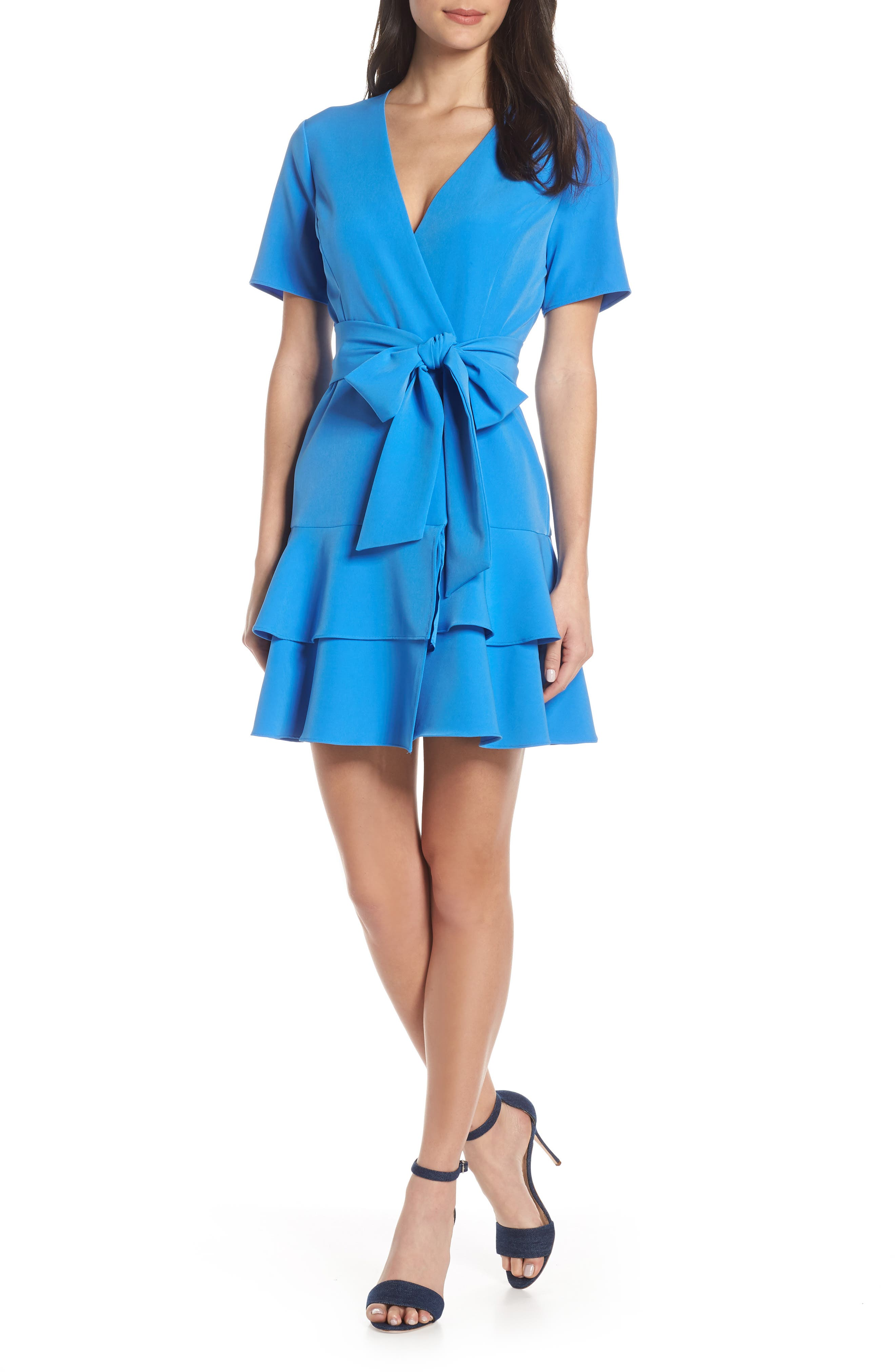 CHARLES HENRY Ruffle Tiered Wrap Dress, Main, color, DENIM BLUE