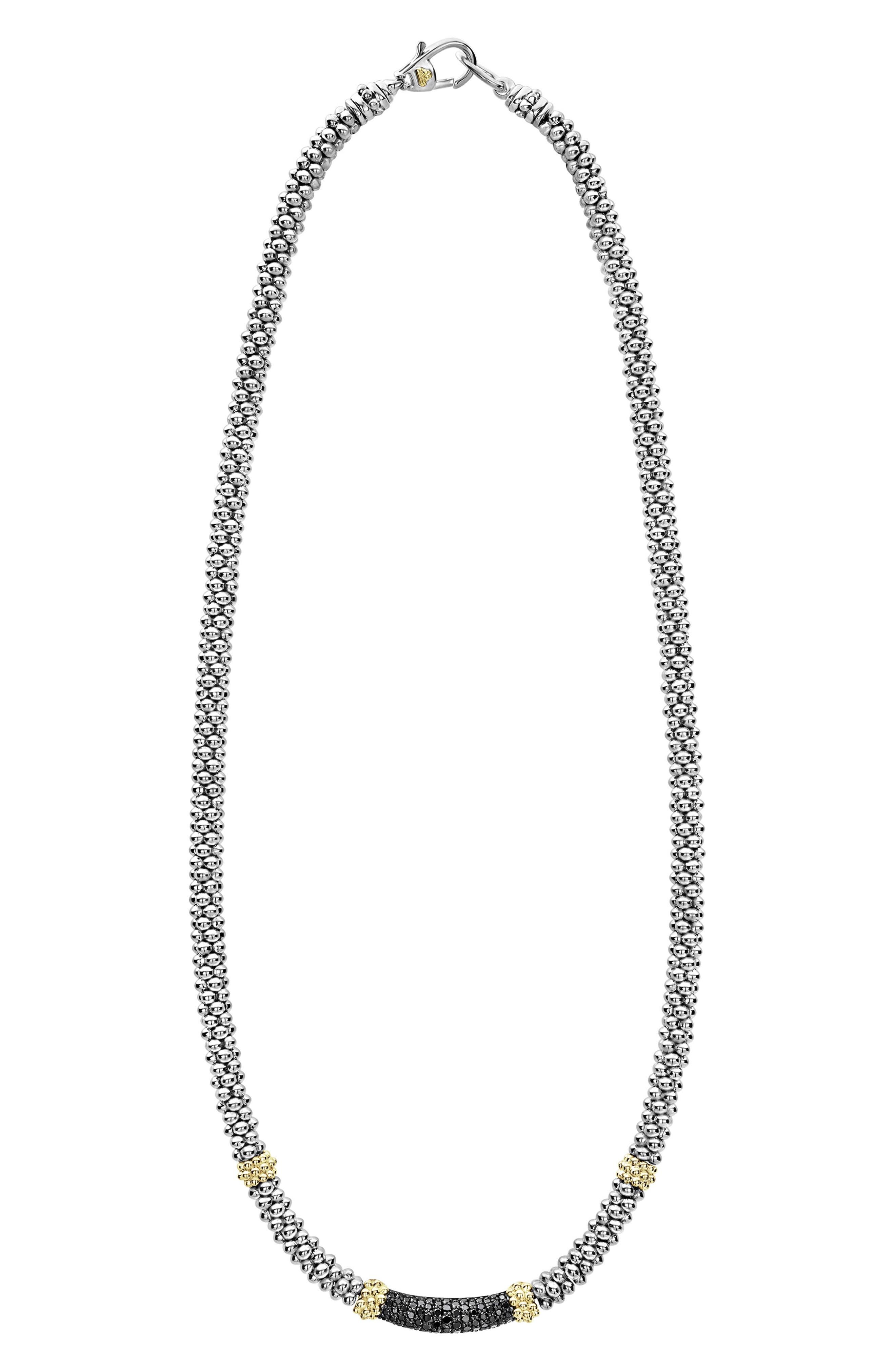 18K Yellow Gold & Sterling Silver Diamond Lux Black Diamond Necklace, 16 in Silver/ Gold/ Black Diamond