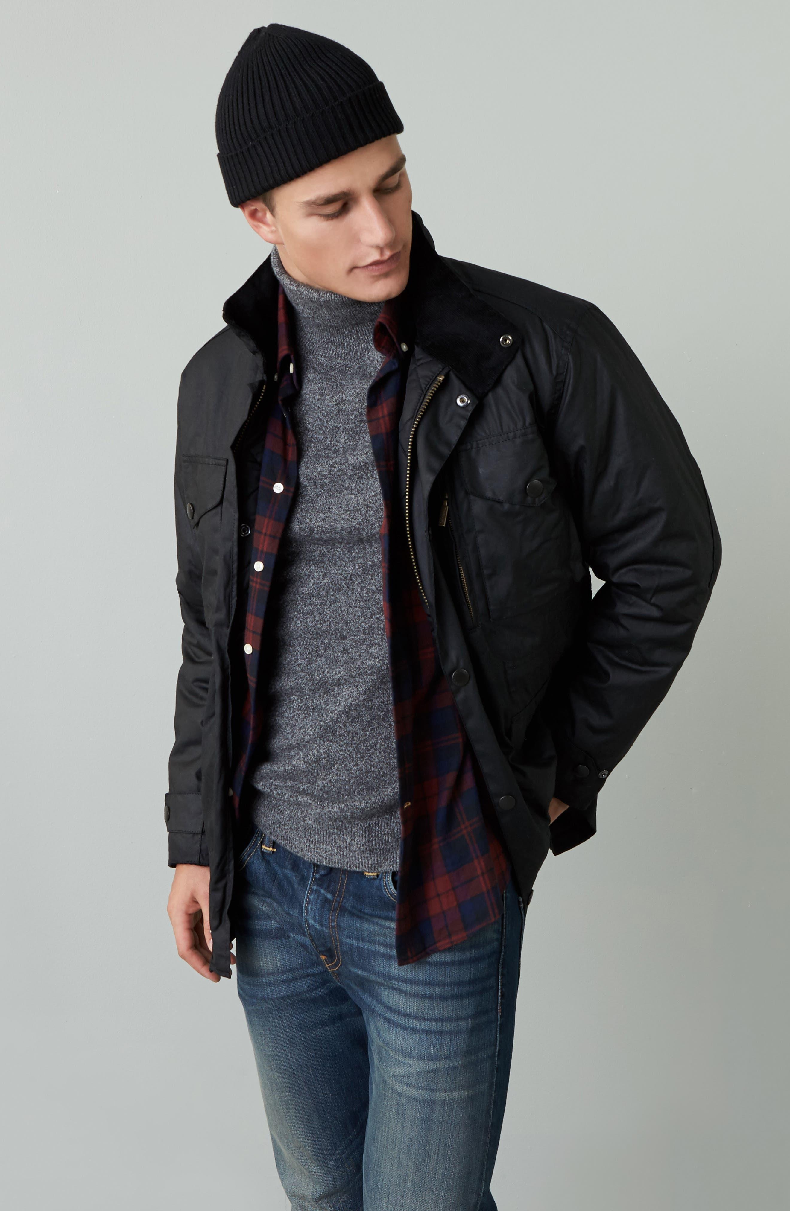 'Sapper' Regular Fit Waterproof Waxed Cotton Jacket,                             Alternate thumbnail 6, color,                             BLACK