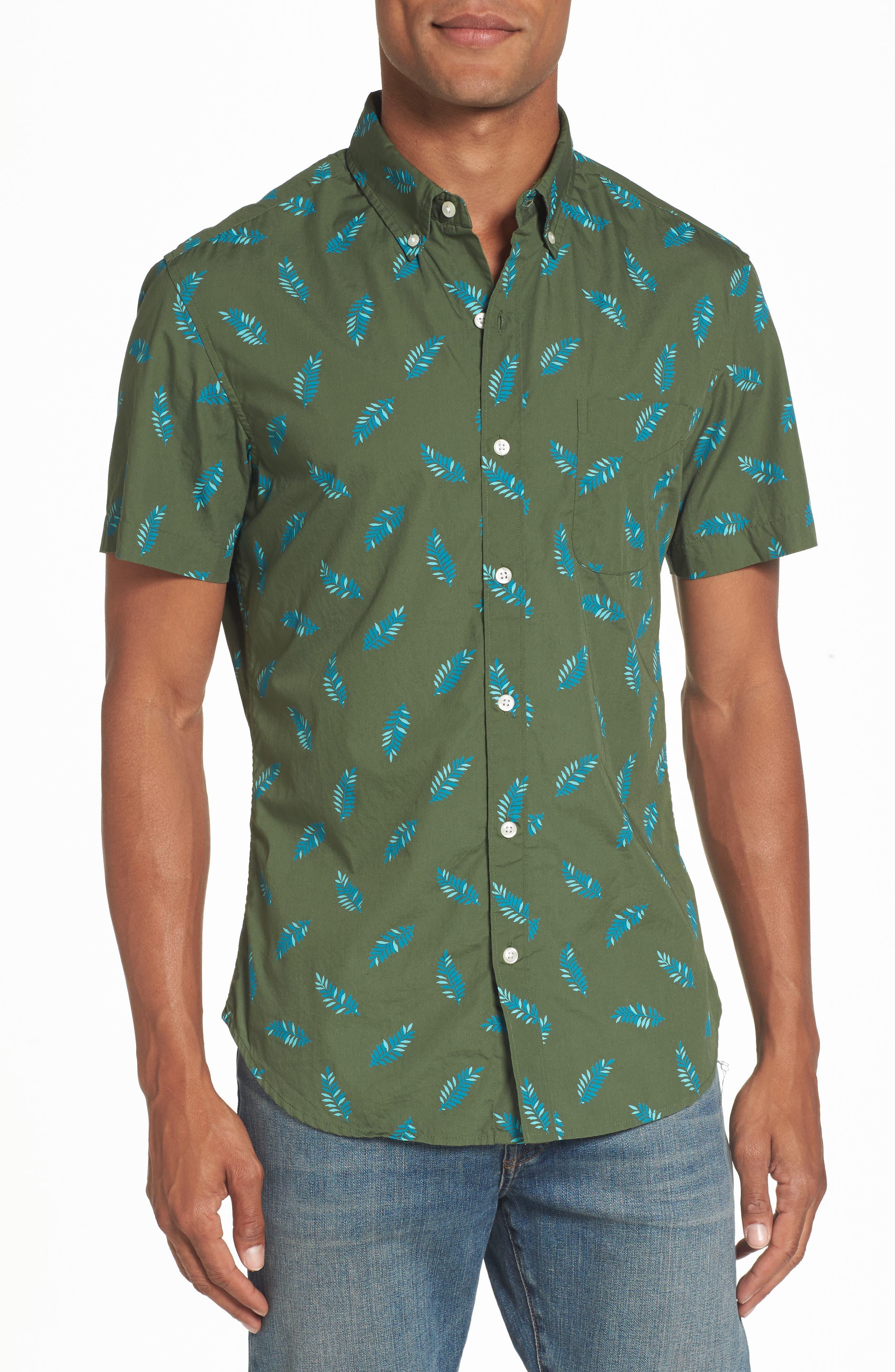 Riviera Fern Print Woven Shirt,                         Main,                         color, 300