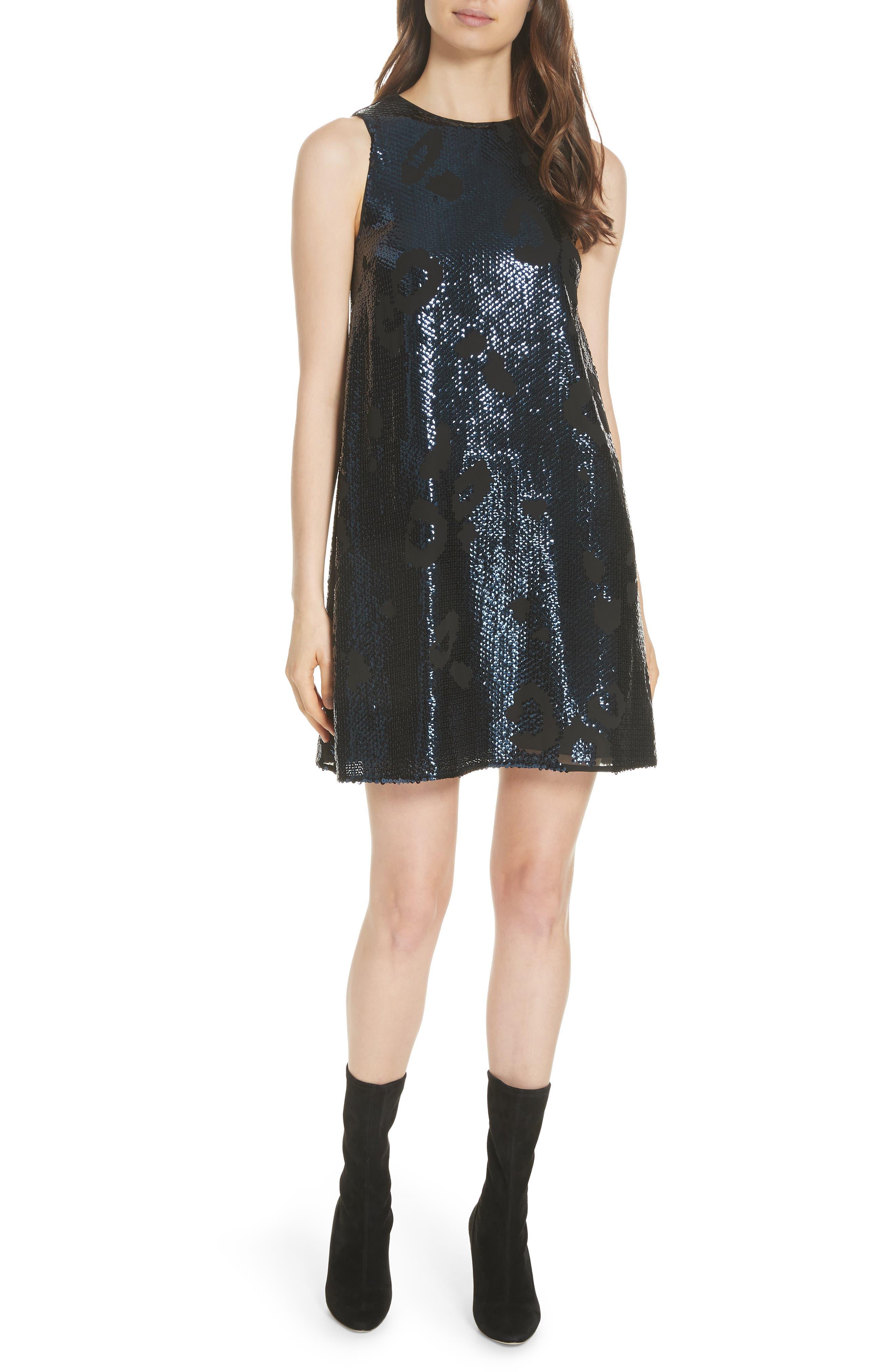 leopard sequin shift dress,                             Main thumbnail 1, color,                             LIGHT ADRIATIC BLUE