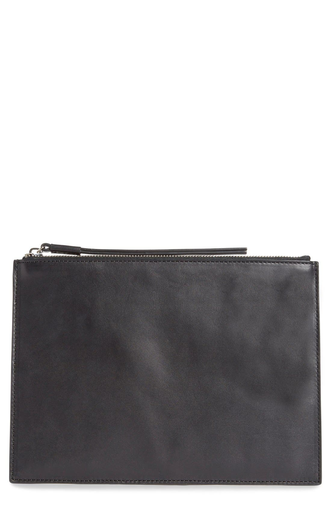 Flat Leather Pouch,                             Main thumbnail 1, color,                             001